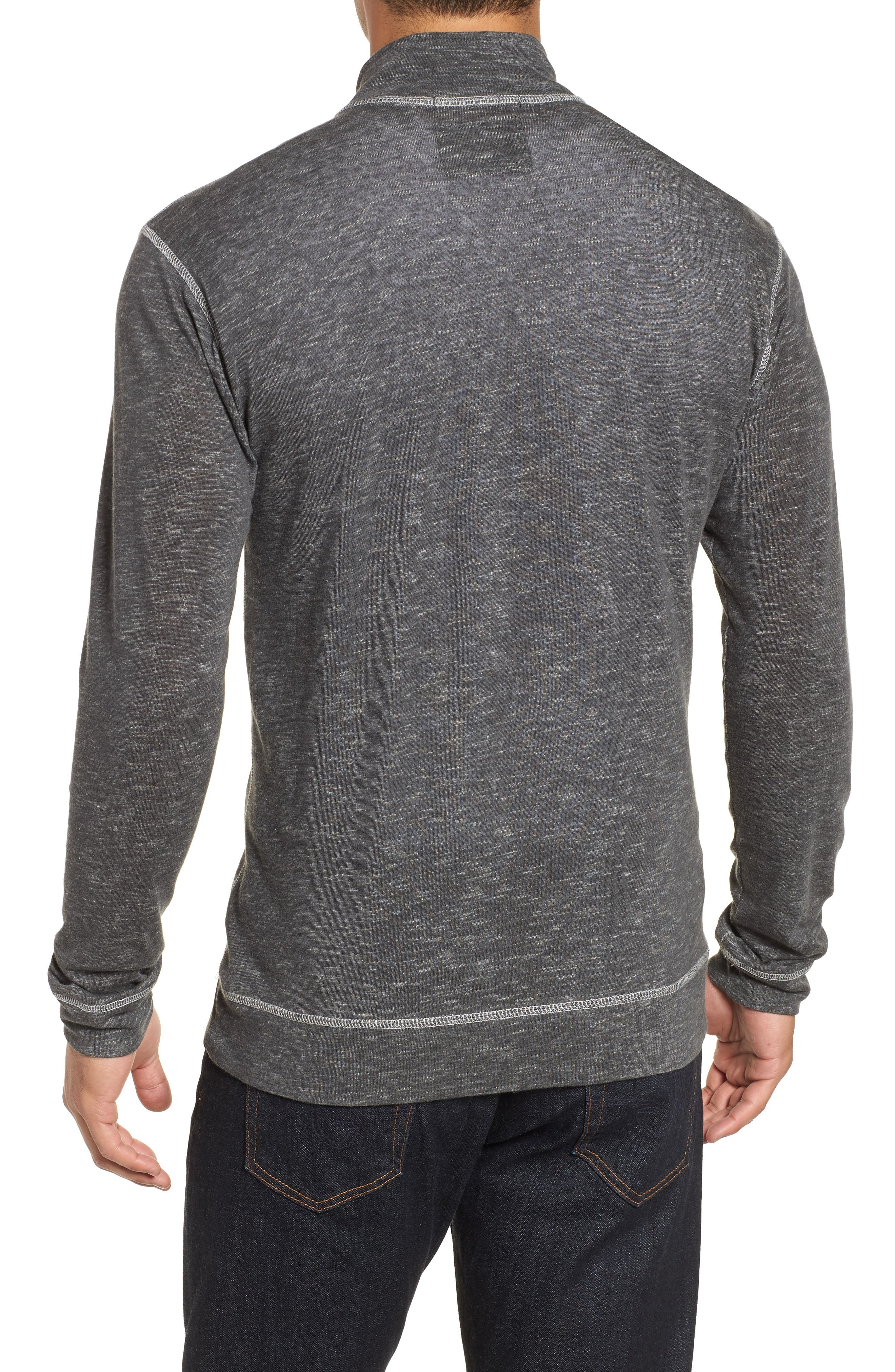 Space Dyed Quarter-Zip Shirt,                             Alternate thumbnail 2, color,                             CHARCOAL