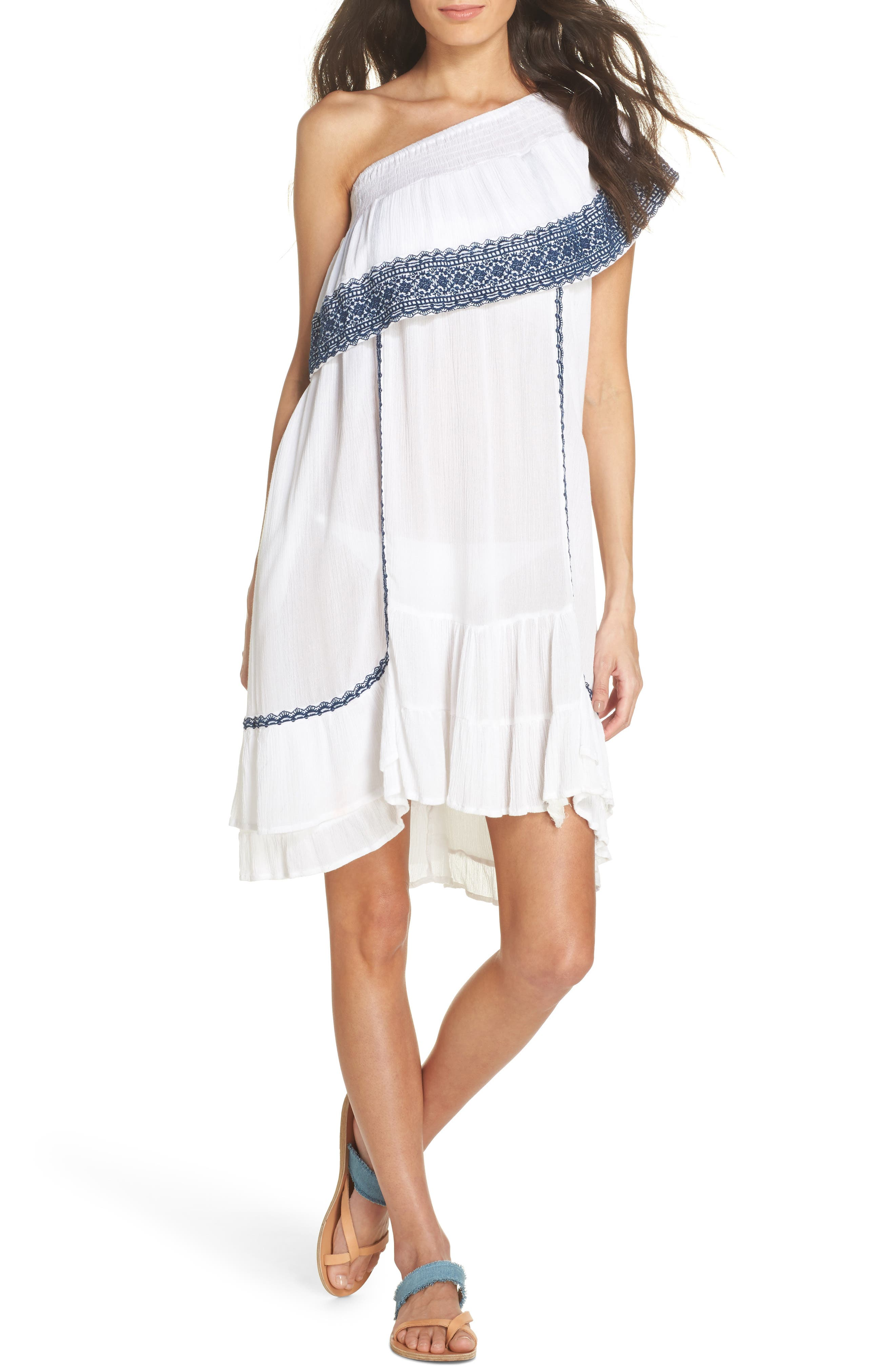 Gavin One-Shoulder Cover-Up Dress,                             Main thumbnail 2, color,