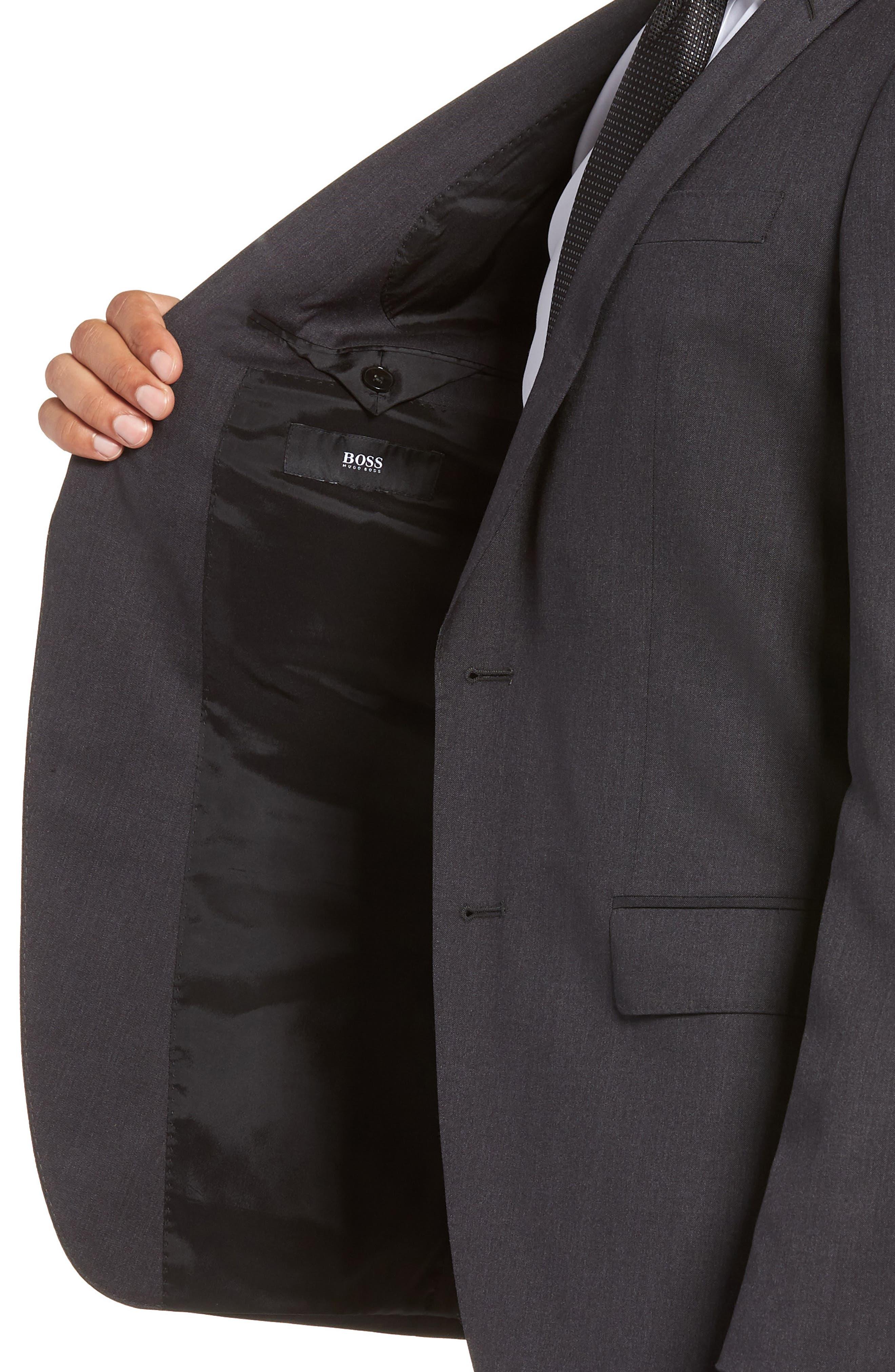 Huge/Genius Trim Fit Solid Wool Suit,                             Alternate thumbnail 4, color,                             DARK GREY
