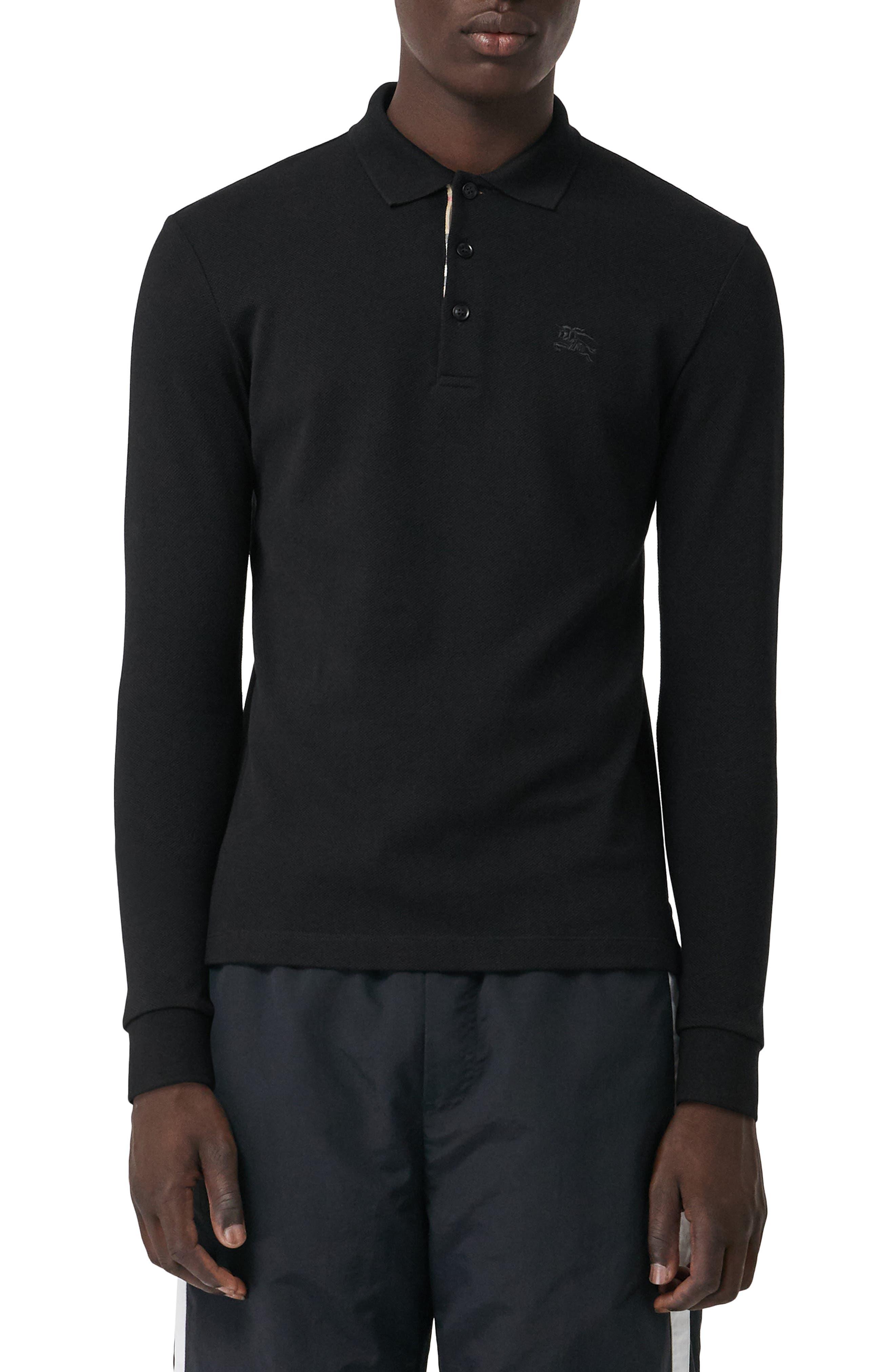 Hartford Long Sleeve Polo,                         Main,                         color, BLACK