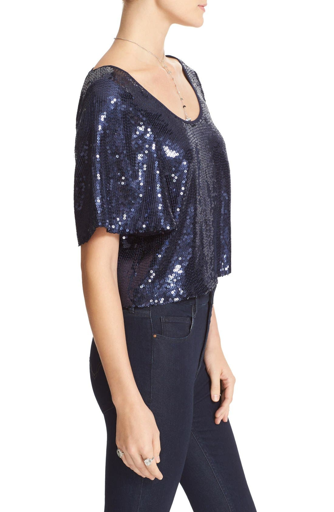 Night Fever Sequin Tee,                             Alternate thumbnail 4, color,                             410