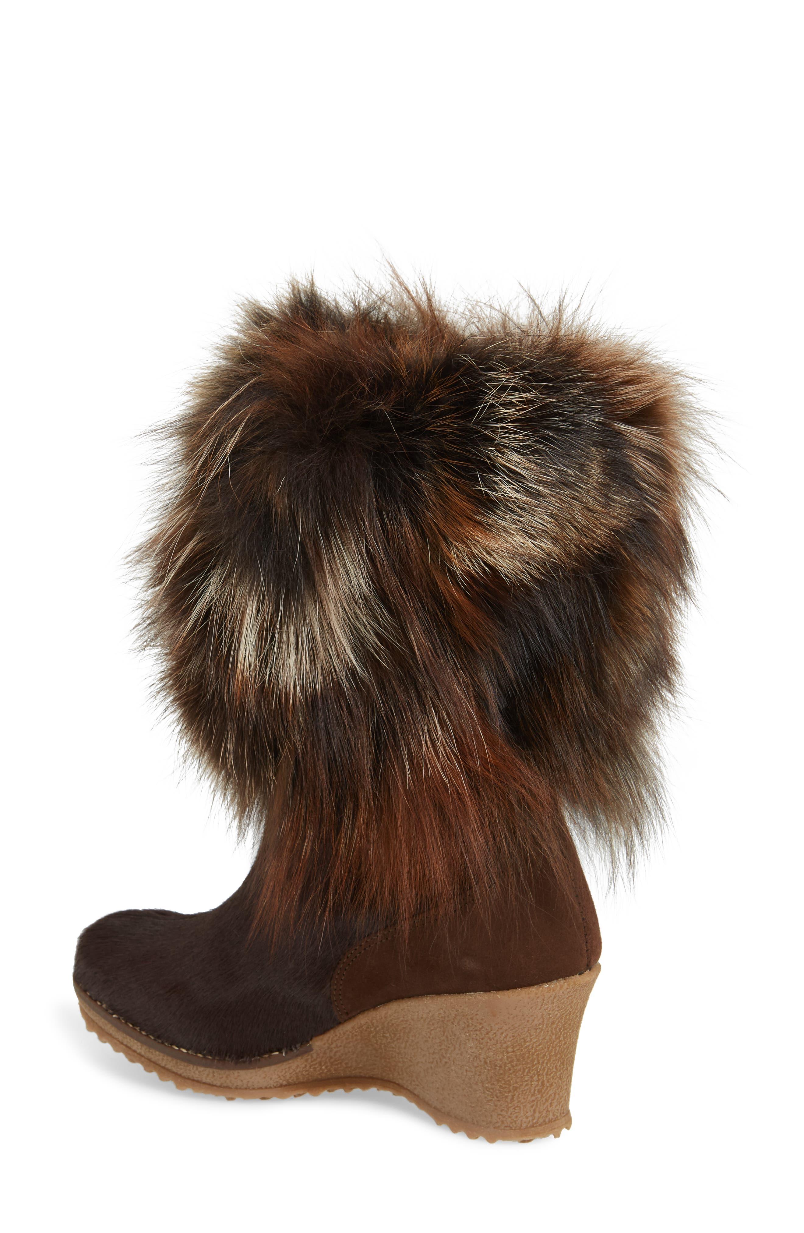 Angelina Genuine Fox Fur Wedge Boot,                             Alternate thumbnail 7, color,