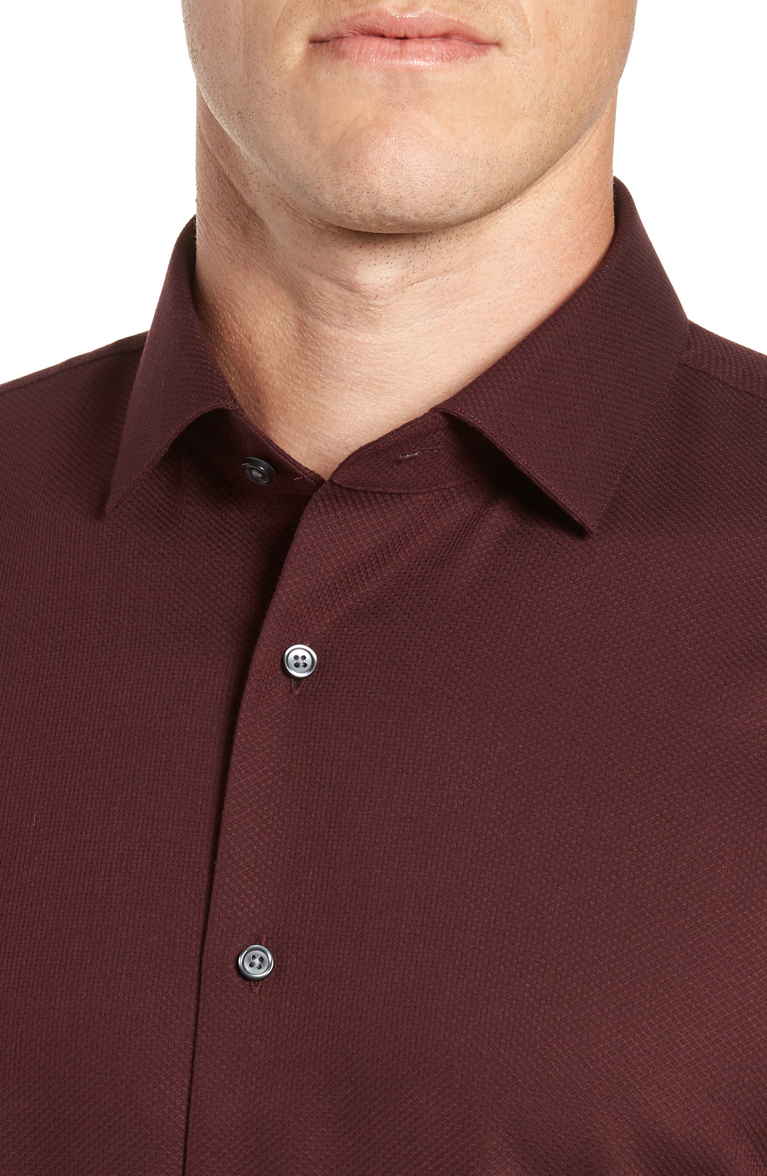 Trim Fit Non-Iron Solid Dress Shirt,                             Alternate thumbnail 2, color,                             BURGUNDY ROYALE