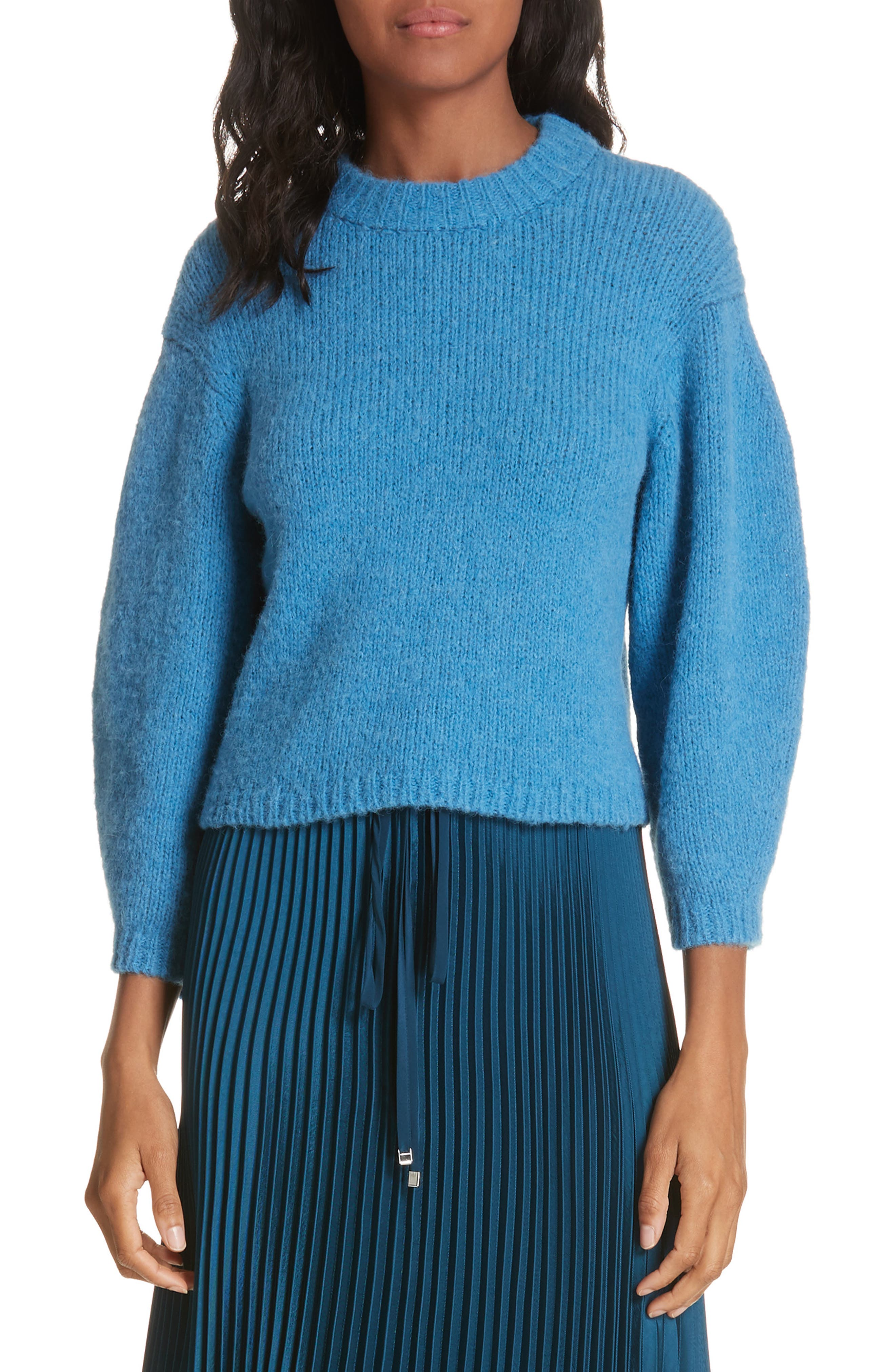 Tibi Cozette Alpaca & Wool Blend Crop Sweater, Blue