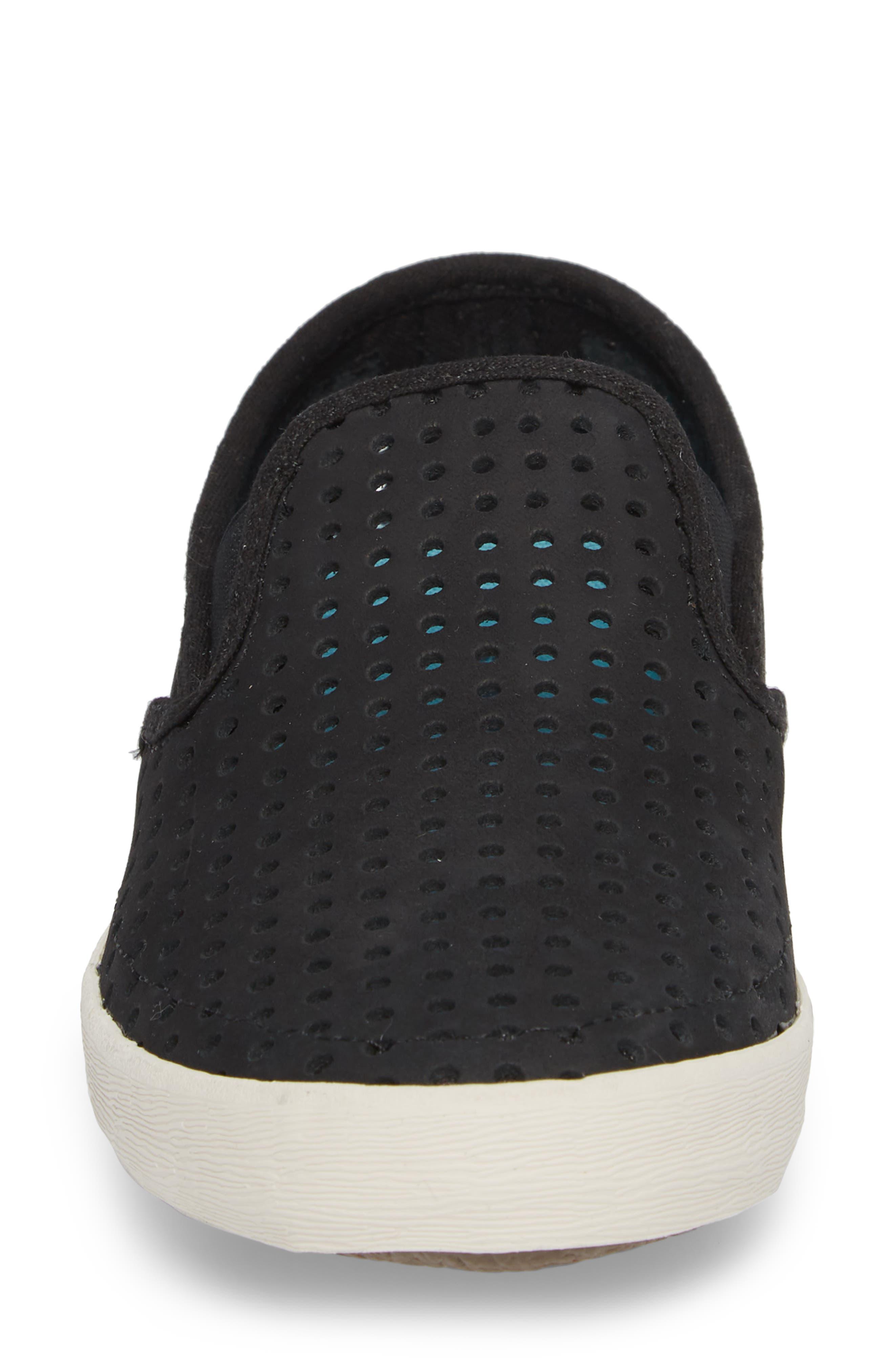 Baja Perforated Slip-On Sneaker,                             Alternate thumbnail 4, color,                             BLACK