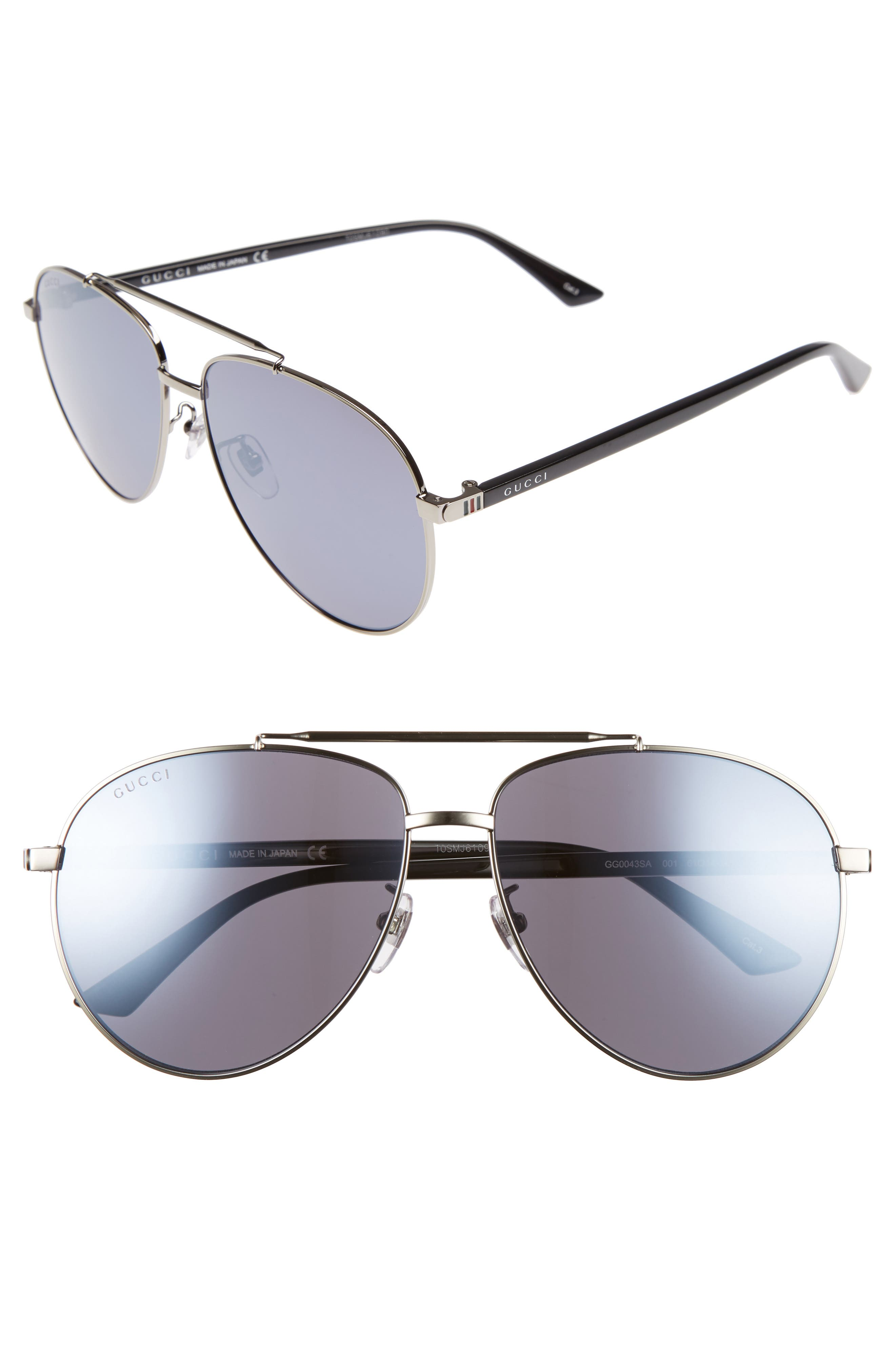 Gucci 61Mm Aviator Sunglasses - Mirror Gunmetal/ Ruthenium