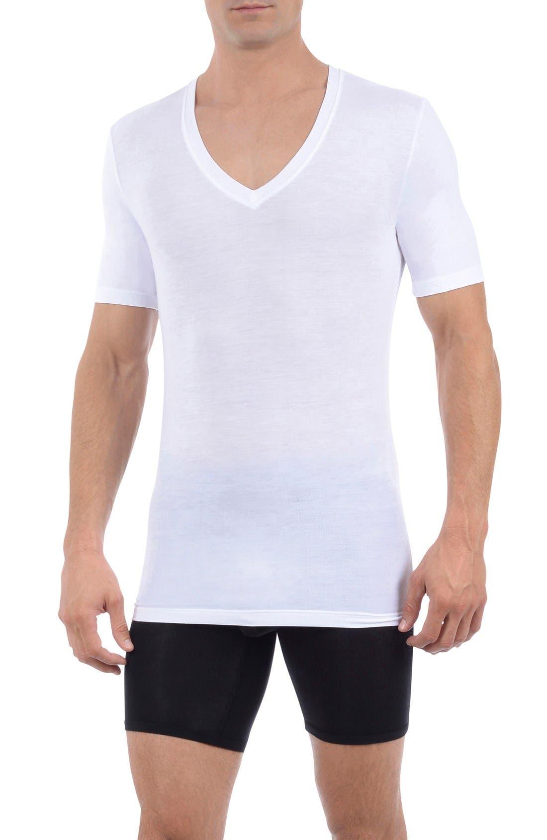 Second Skin Micromodal Deep V-Neck Undershirt,                         Main,                         color, WHITE