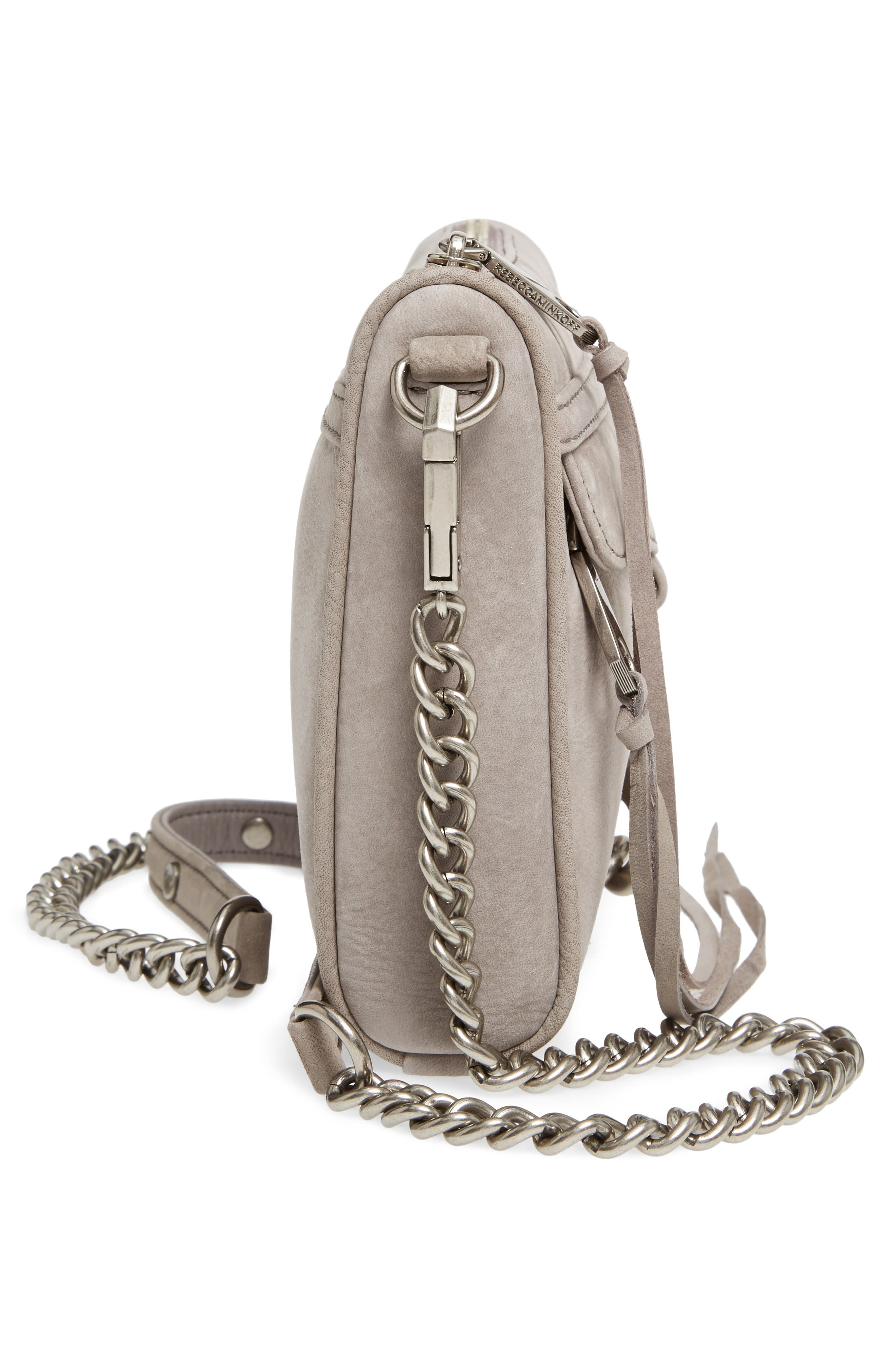 Mini MAC Nubuck Convertible Crossbody Bag,                             Alternate thumbnail 5, color,                             GREY