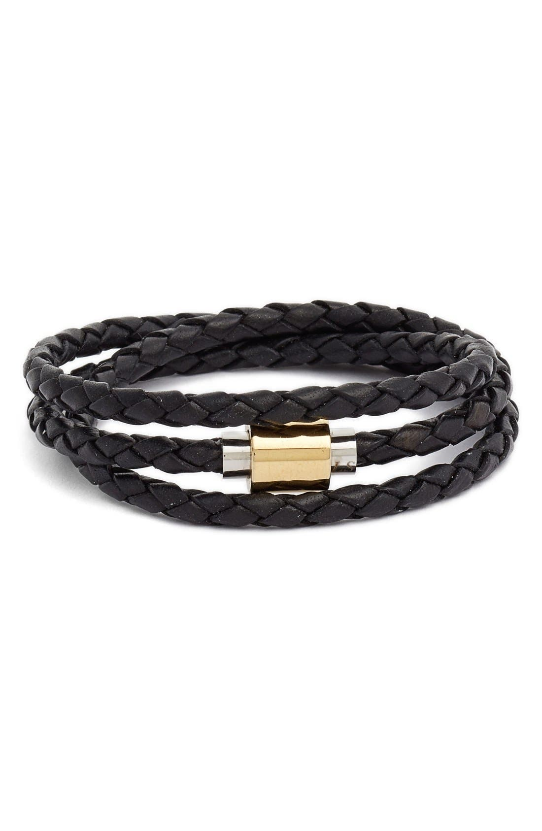 'SOBE Original' Braided Leather Wrap Bracelet,                             Main thumbnail 1, color,                             001
