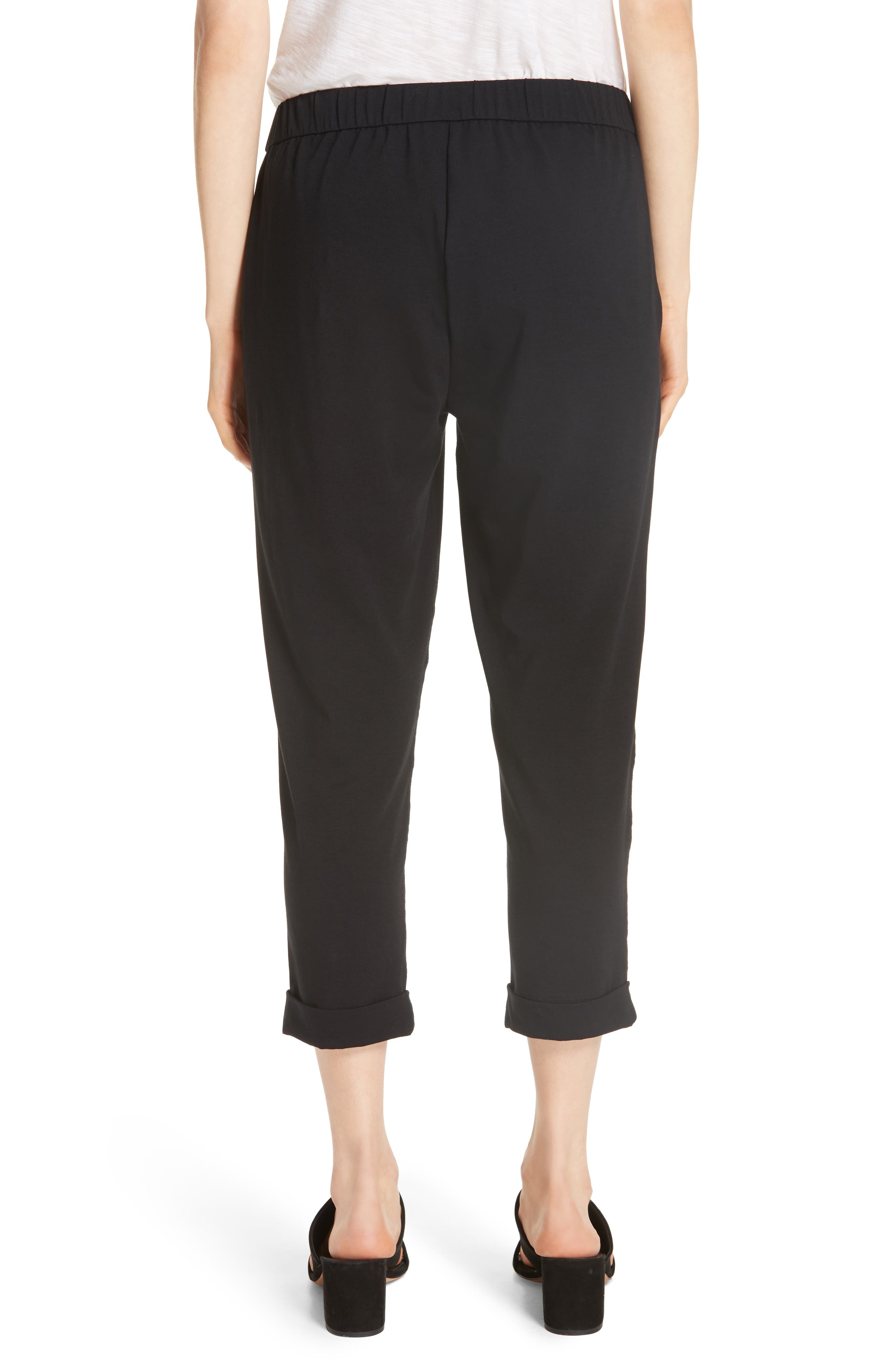 Slim Cropped Pants,                             Alternate thumbnail 2, color,                             BLACK