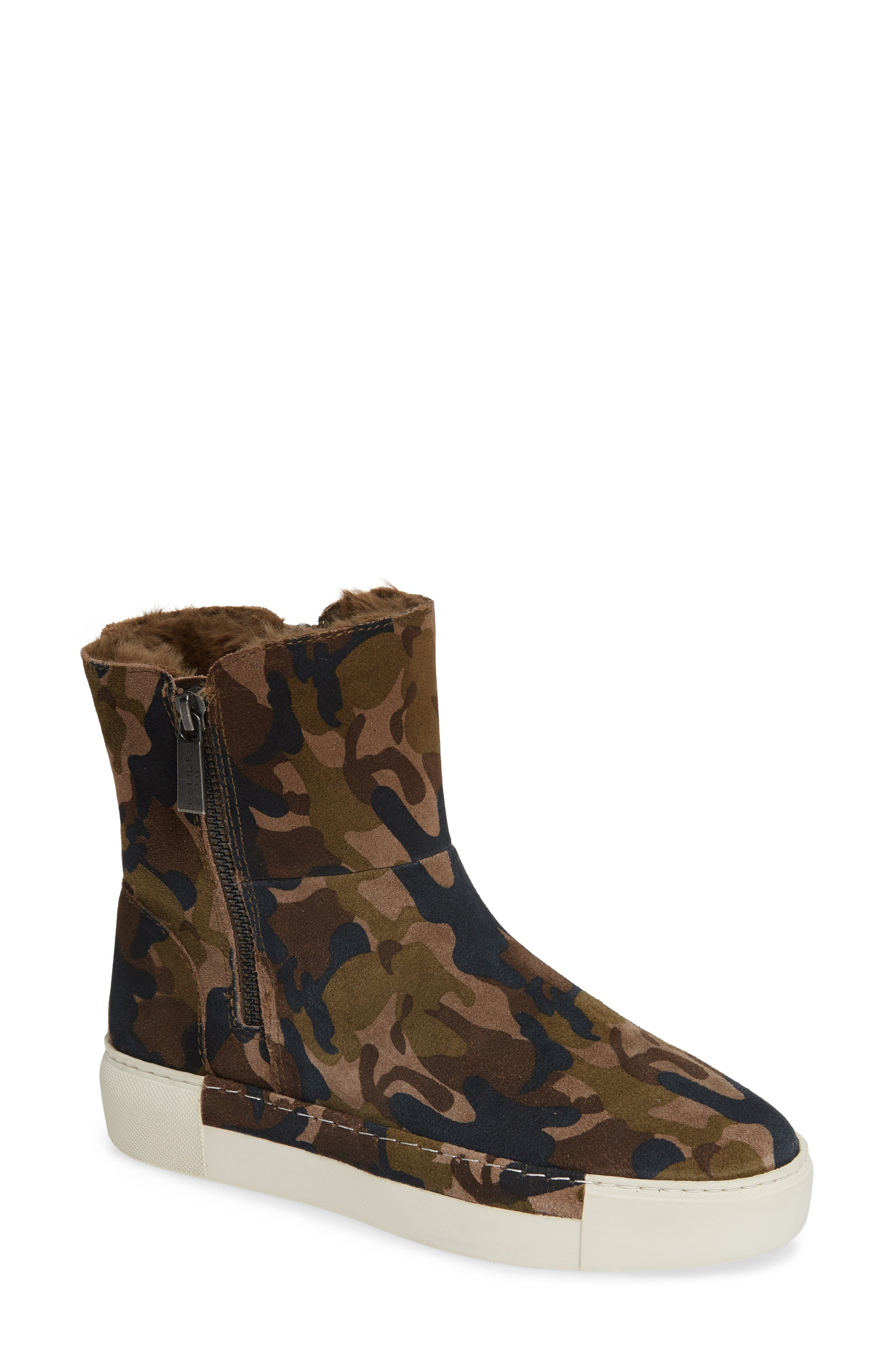 JSLIDES Victory Double Zip Boot in Green Camo Suede
