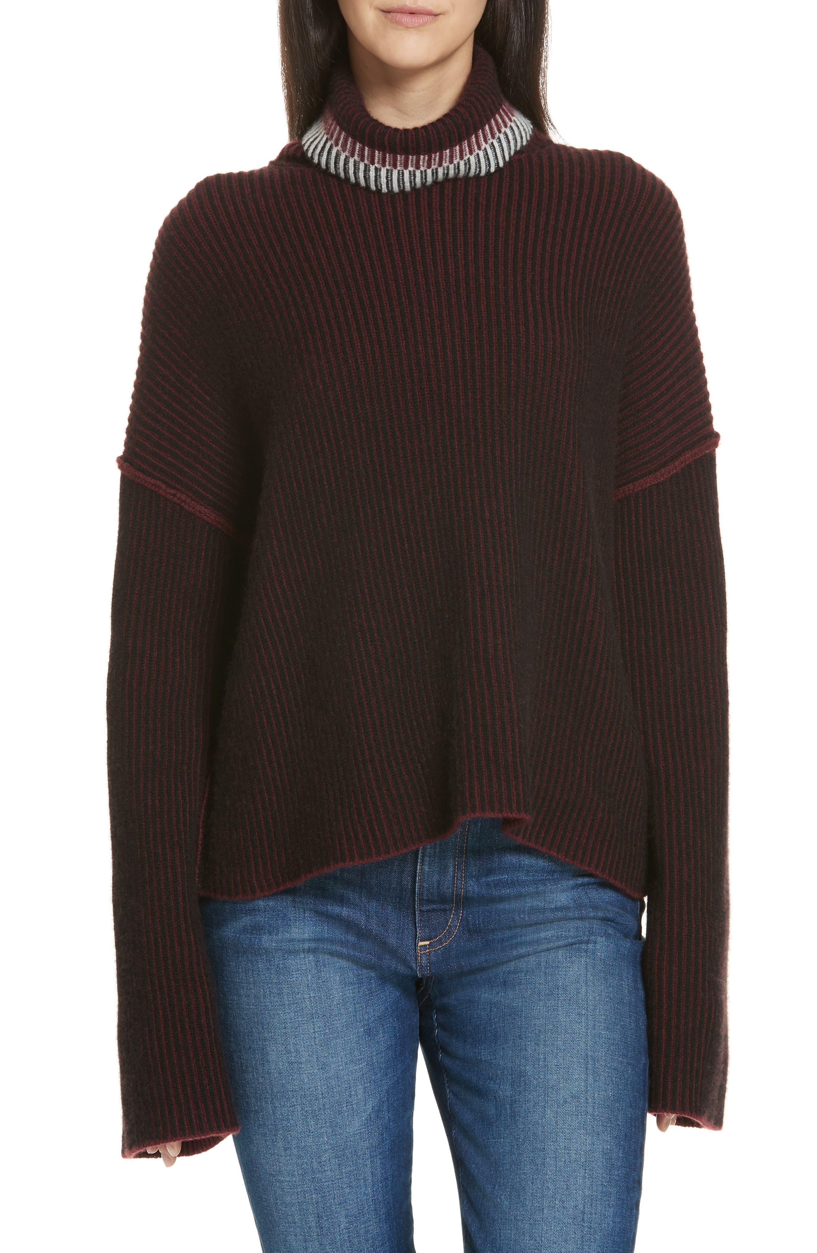 Oversize Cashmere Turtleneck Sweater,                             Main thumbnail 1, color,                             DARK CURRANT MIX
