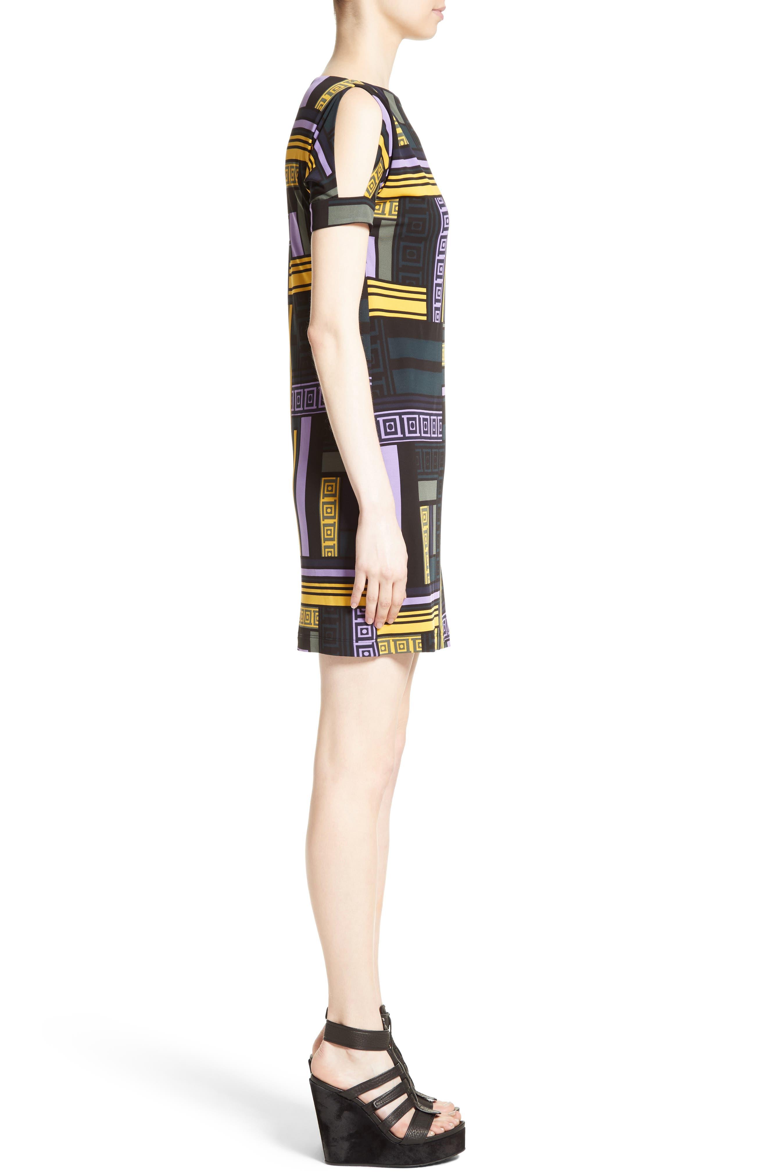 Cold Shoulder Print Jersey Dress,                             Alternate thumbnail 3, color,                             512