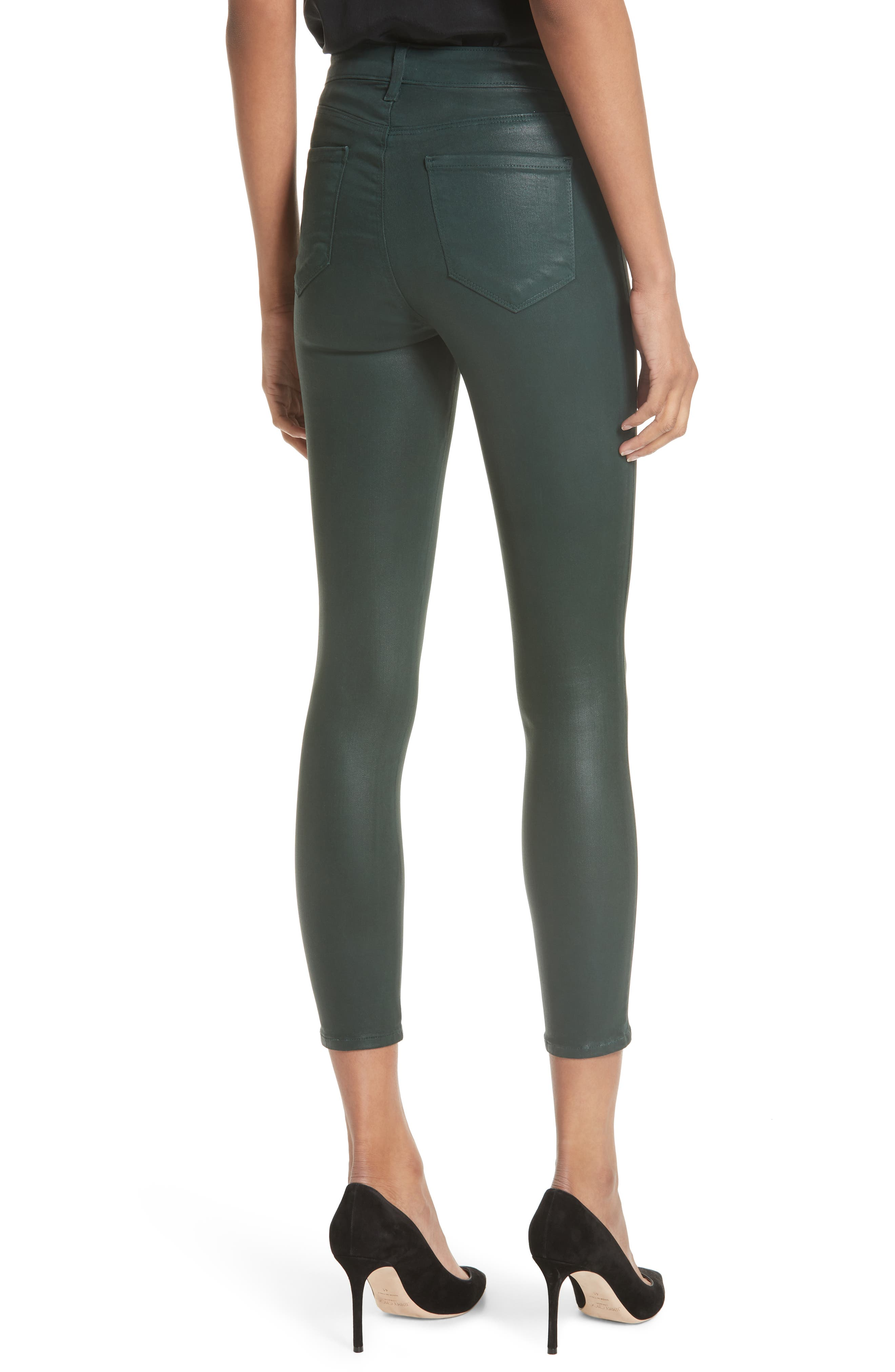 L'AGENCE,                             Margot Coated Crop Skinny Jeans,                             Alternate thumbnail 2, color,                             EVERGREEN COATED