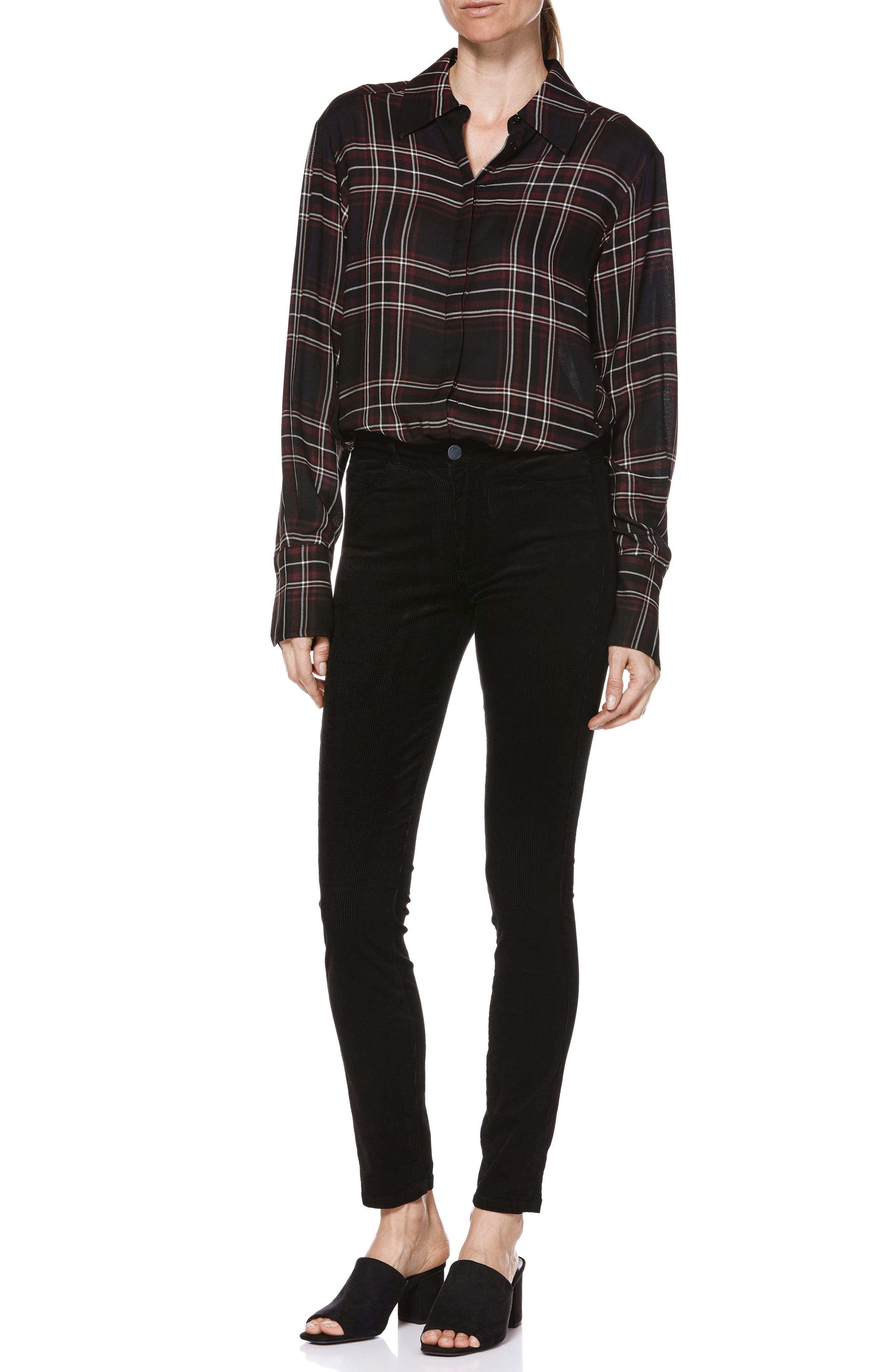 Transcend - Hoxton High Waist Ultra Skinny Jeans,                             Alternate thumbnail 6, color,                             BLACK VELVET CORD