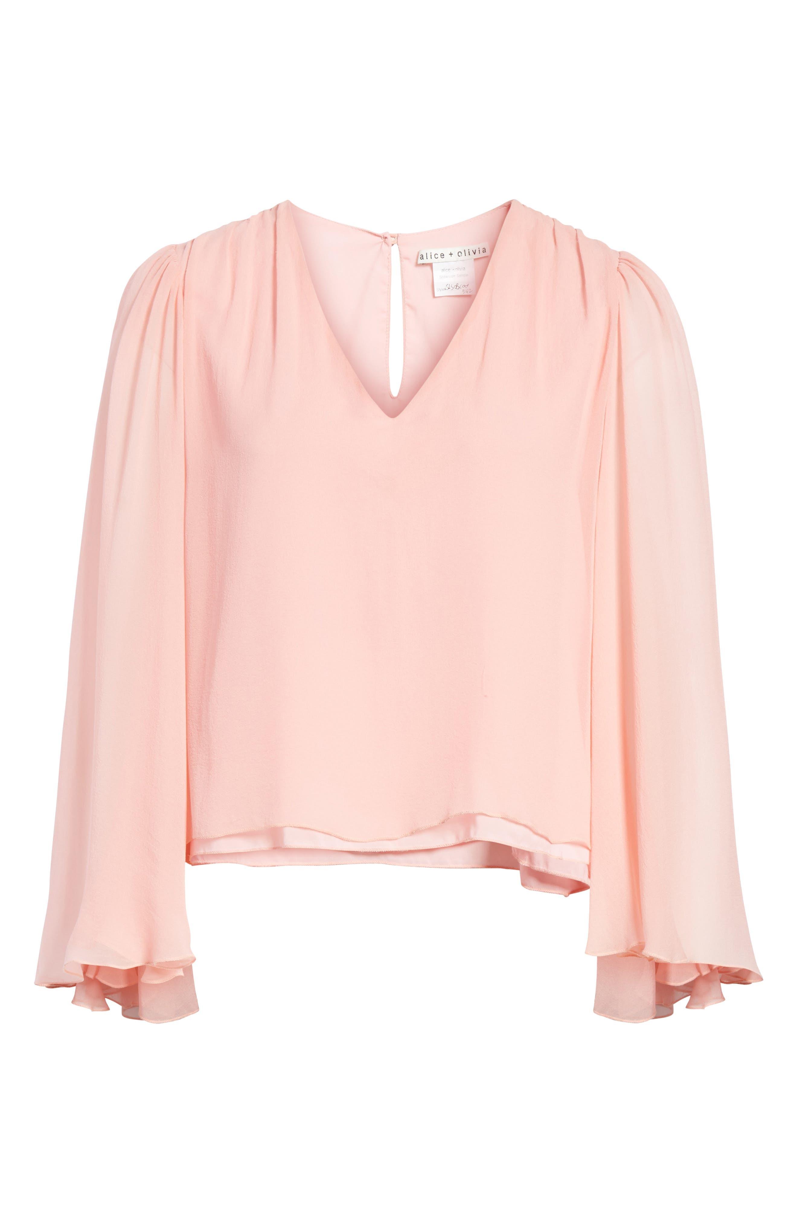 Jerrica Bell Sleeve Silk Blouse,                             Alternate thumbnail 6, color,