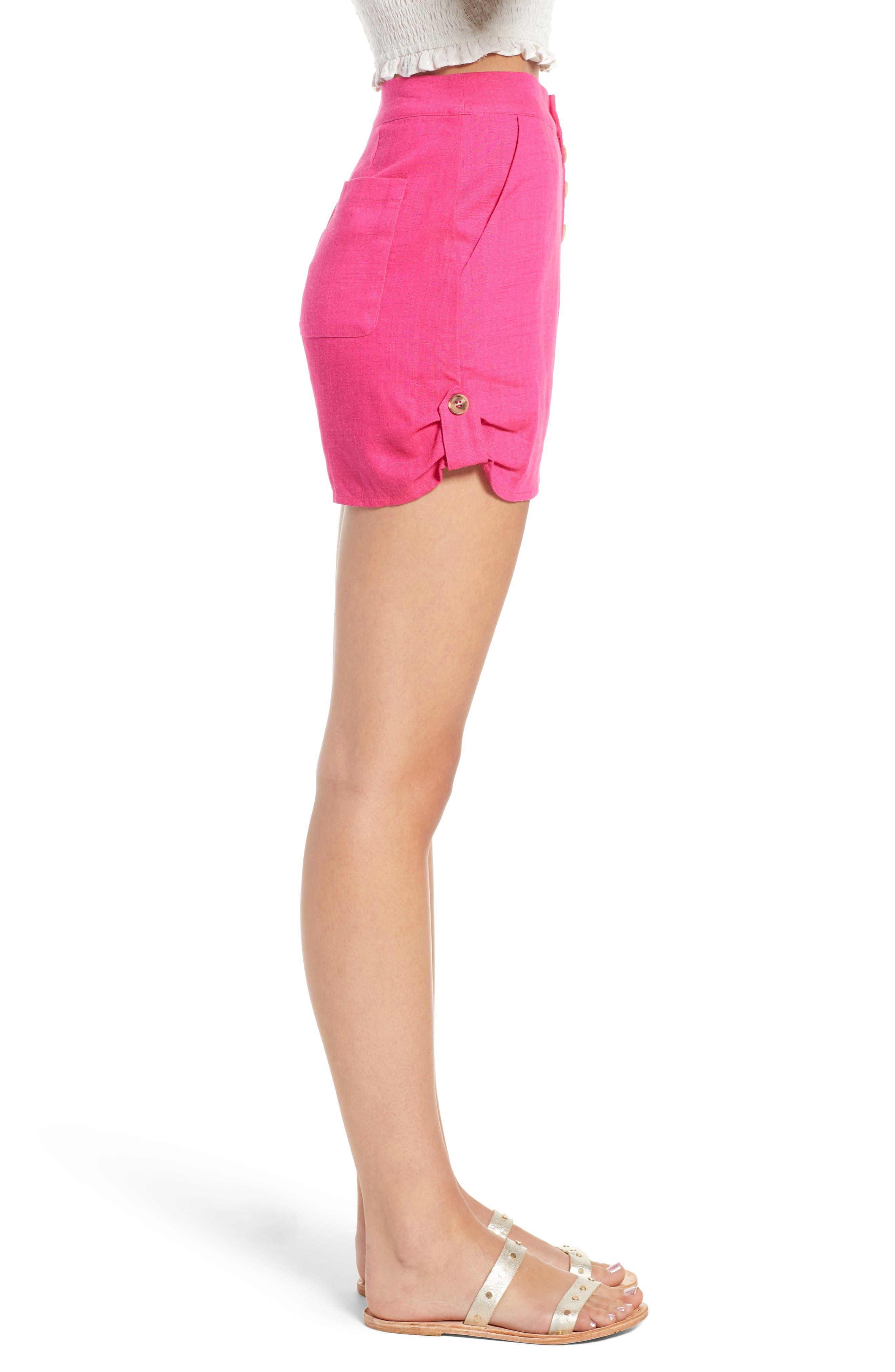 Button Front Linen & Cotton Shorts,                             Alternate thumbnail 3, color,                             650