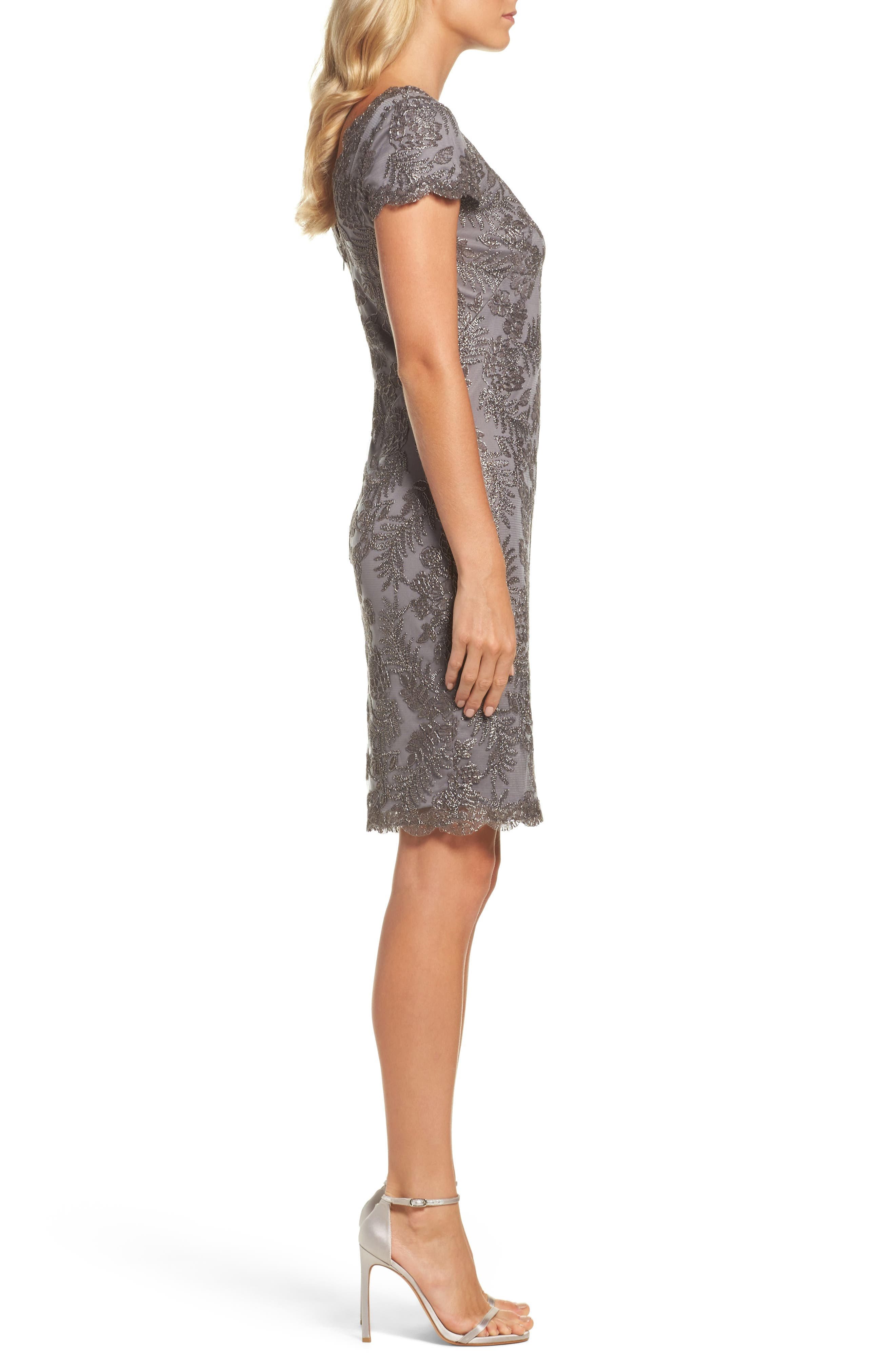Lace Sheath Dress,                             Alternate thumbnail 3, color,                             020