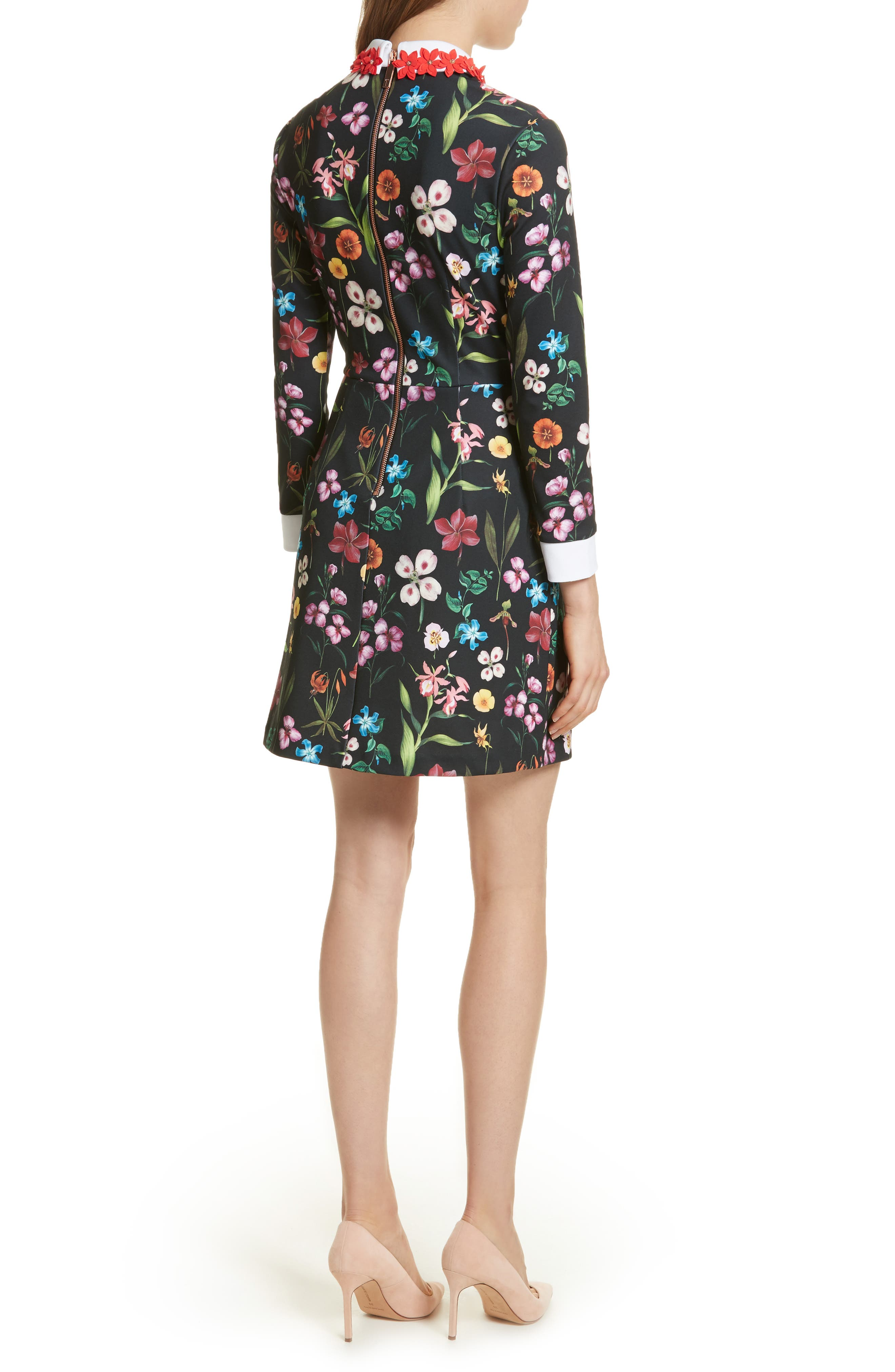 Hampton Embellished Collar Floral Dress,                             Alternate thumbnail 2, color,