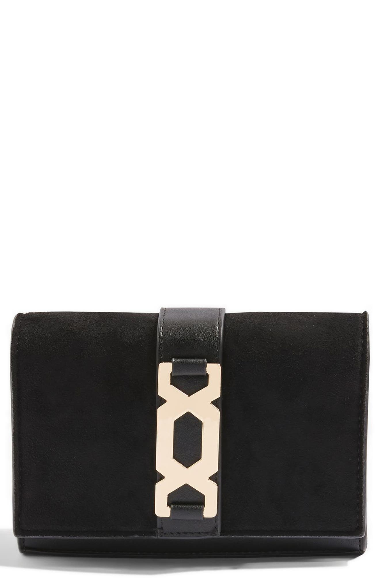 TOPSHOP,                             Rome Hex Hardware Crossbody Bag,                             Main thumbnail 1, color,                             001
