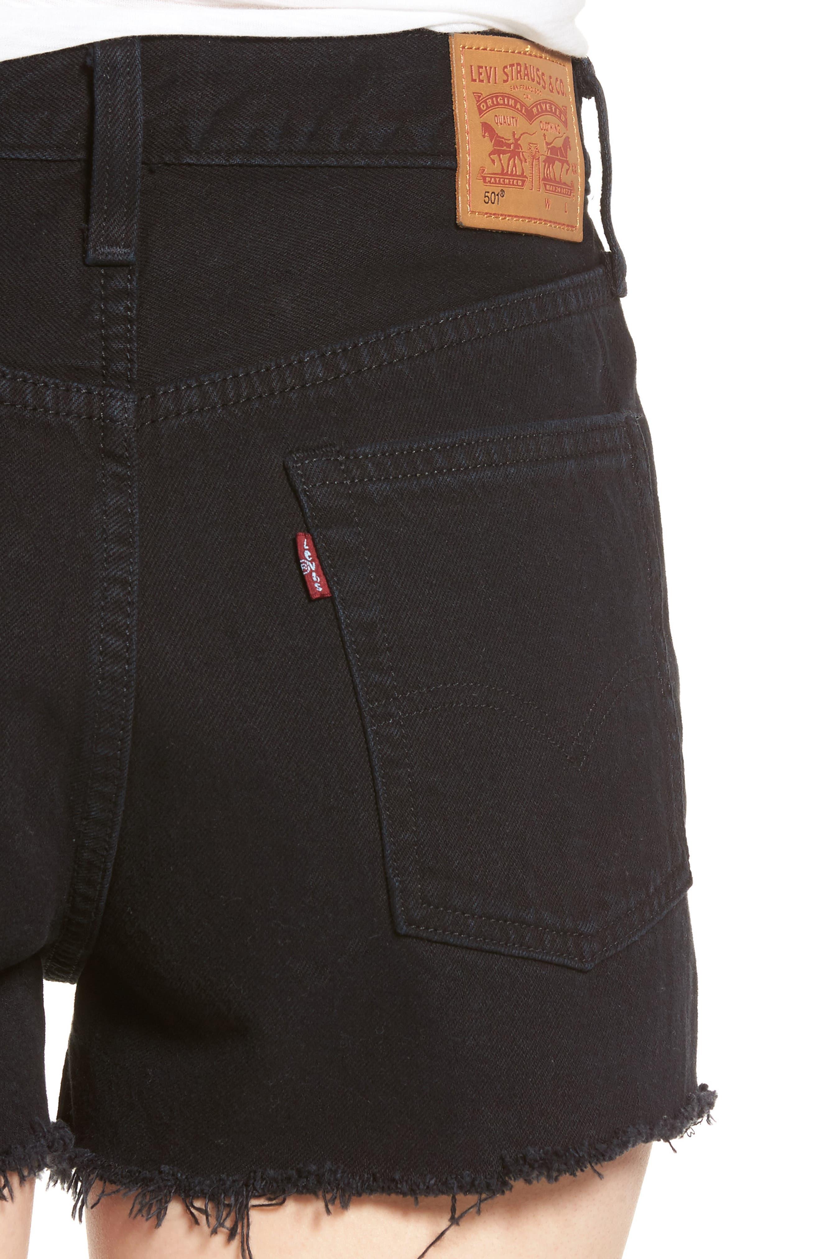 501<sup>®</sup> High Rise Denim Shorts,                             Alternate thumbnail 4, color,                             001