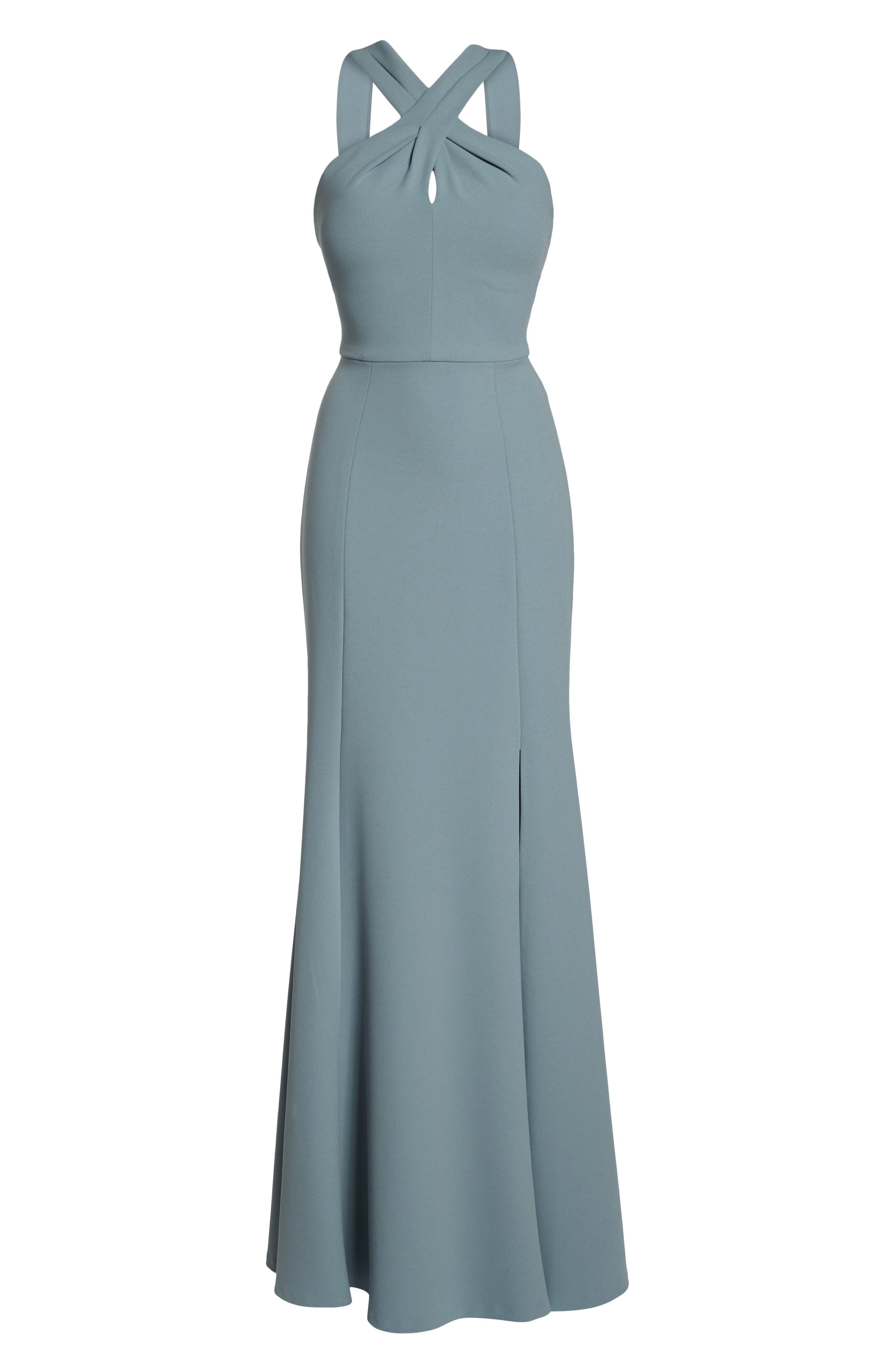 Kayleigh Cross Front Crepe Knit Gown,                             Alternate thumbnail 8, color,                             MAYAN BLUE