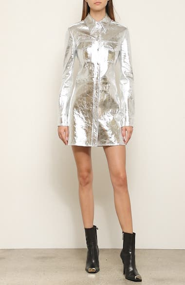 Metallic Leather Western Shirtdress, video thumbnail
