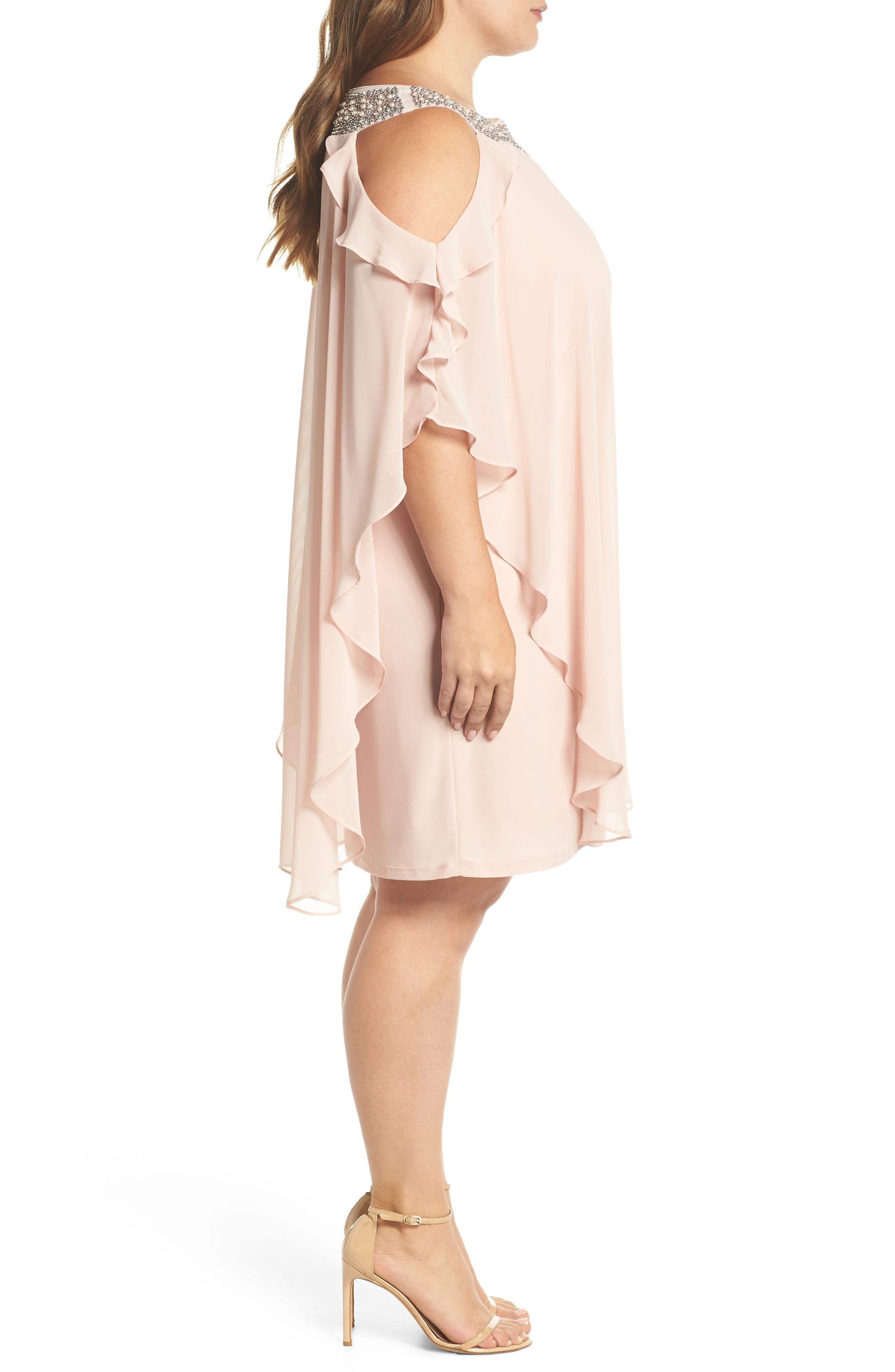 Embellished Neck Cold Shoulder Overlay Chiffon Shift Dress,                             Alternate thumbnail 3, color,                             BLUSH
