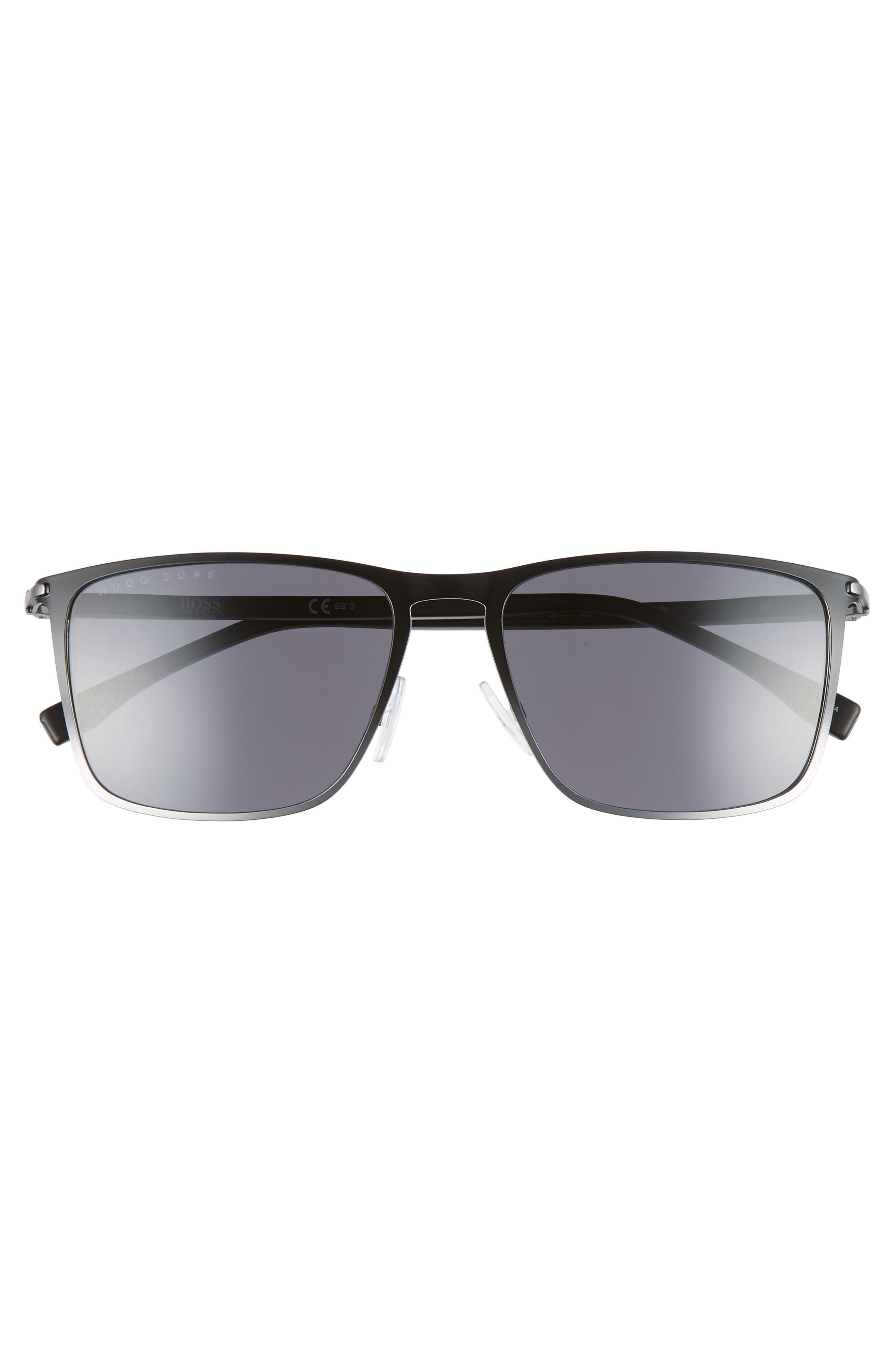 56mm Rectangular Sunglasses,                             Alternate thumbnail 2, color,                             BLACK RUTHENIUM