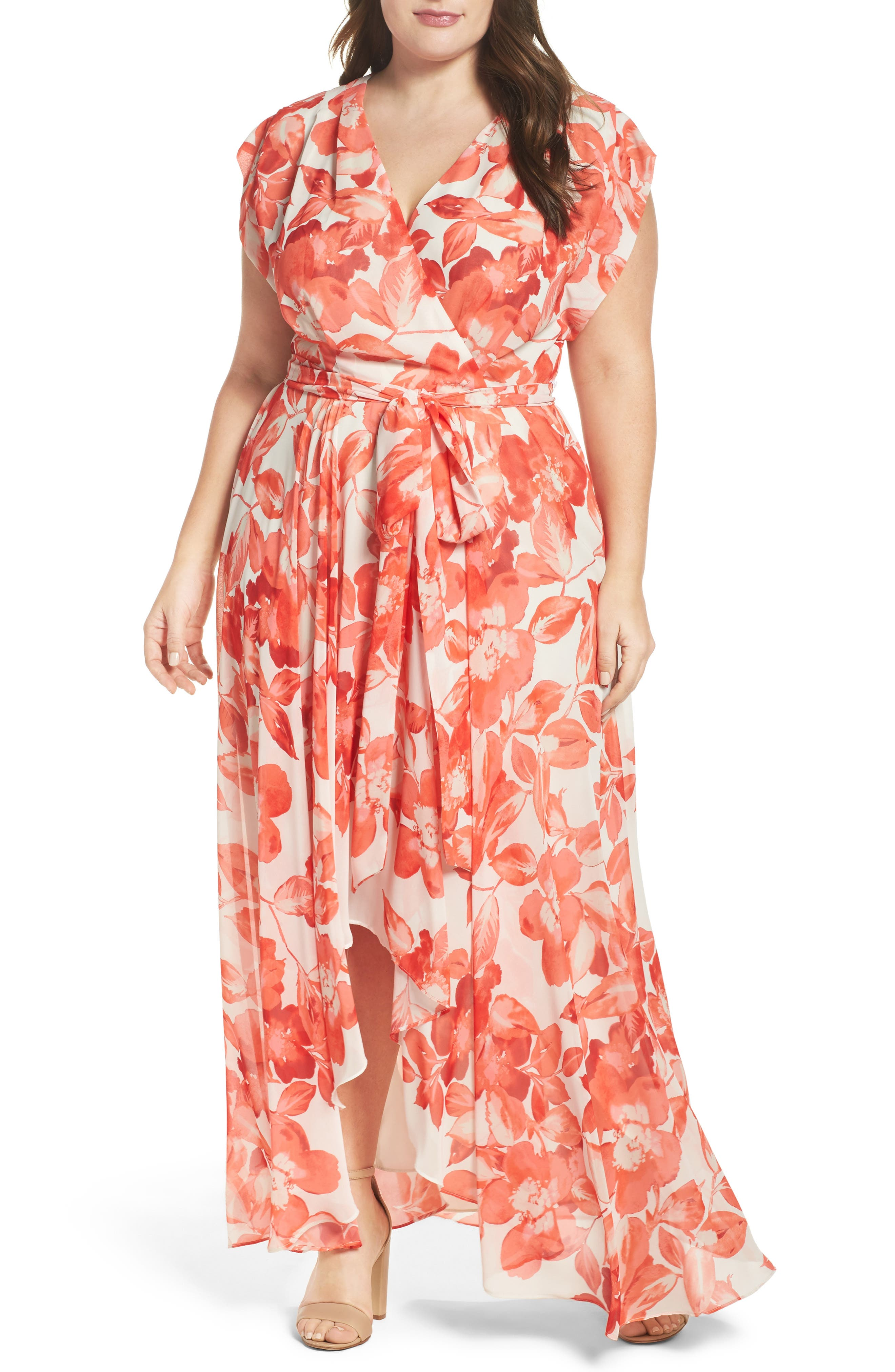 Floral Chiffon High/Low Maxi Dress,                             Main thumbnail 1, color,                             CORAL