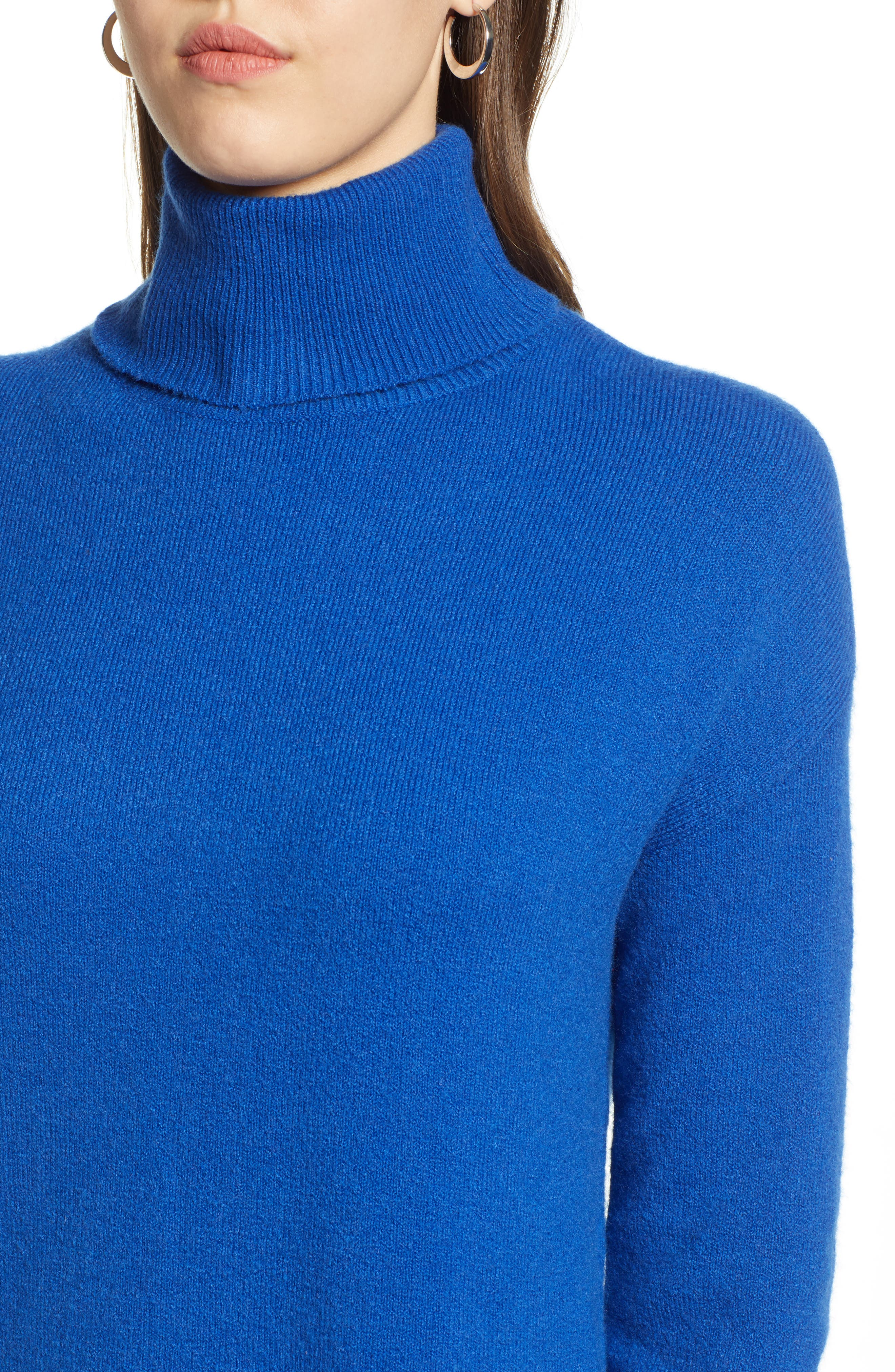 Turtleneck Wool Blend Tunic Sweater,                             Alternate thumbnail 4, color,                             401
