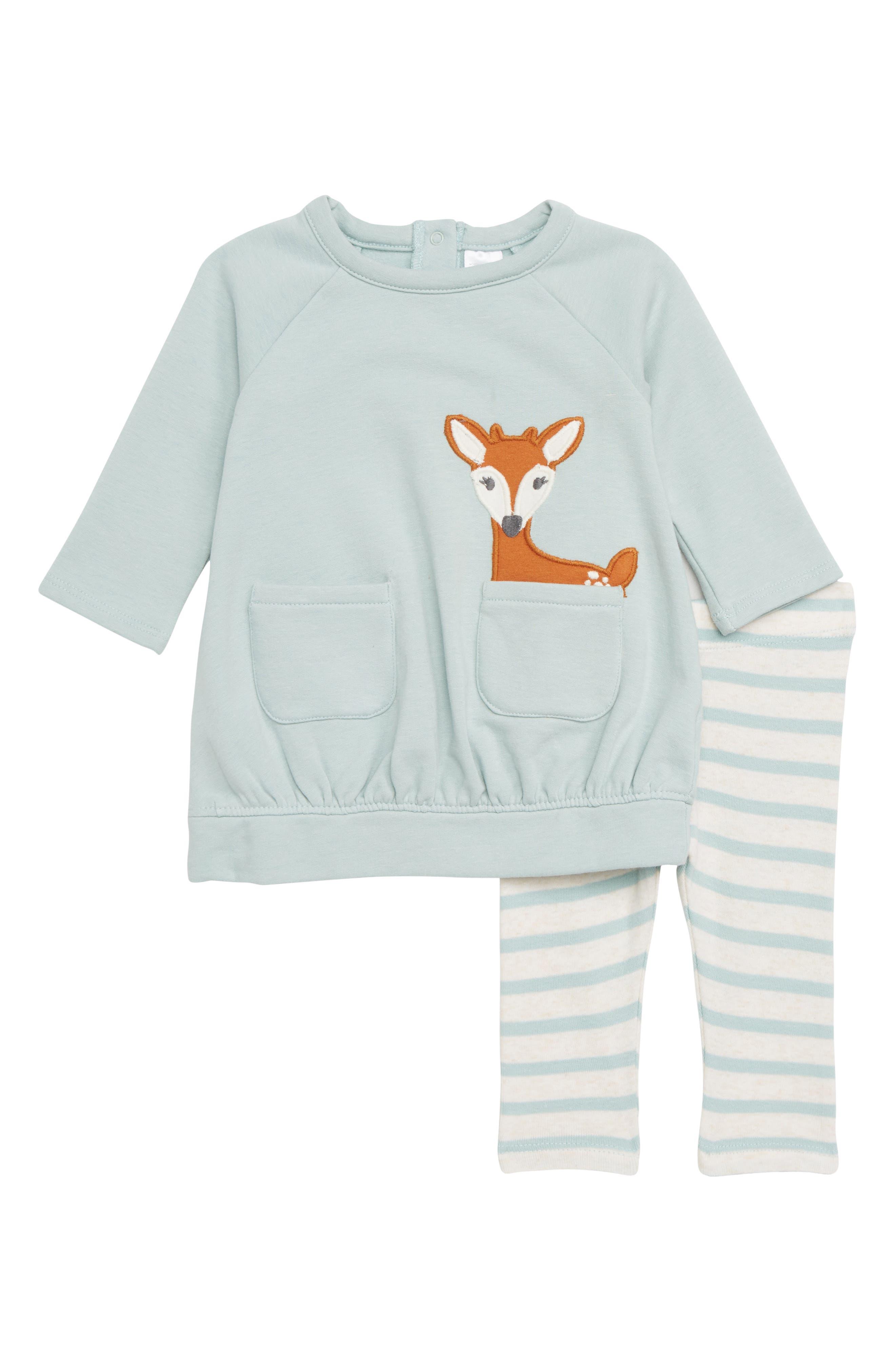 Sweatshirt Dress & Leggings Set,                         Main,                         color, TEAL TIDE FAWN