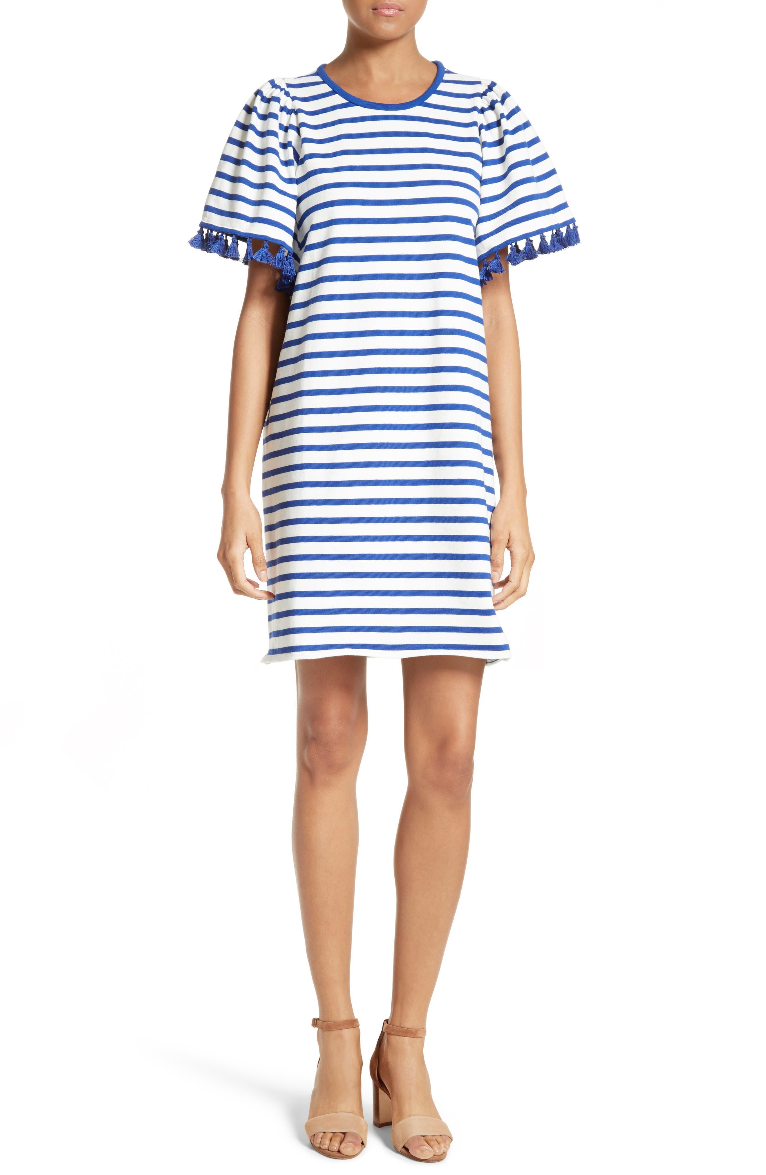 stripe flutter sleeve dress,                             Main thumbnail 1, color,                             137