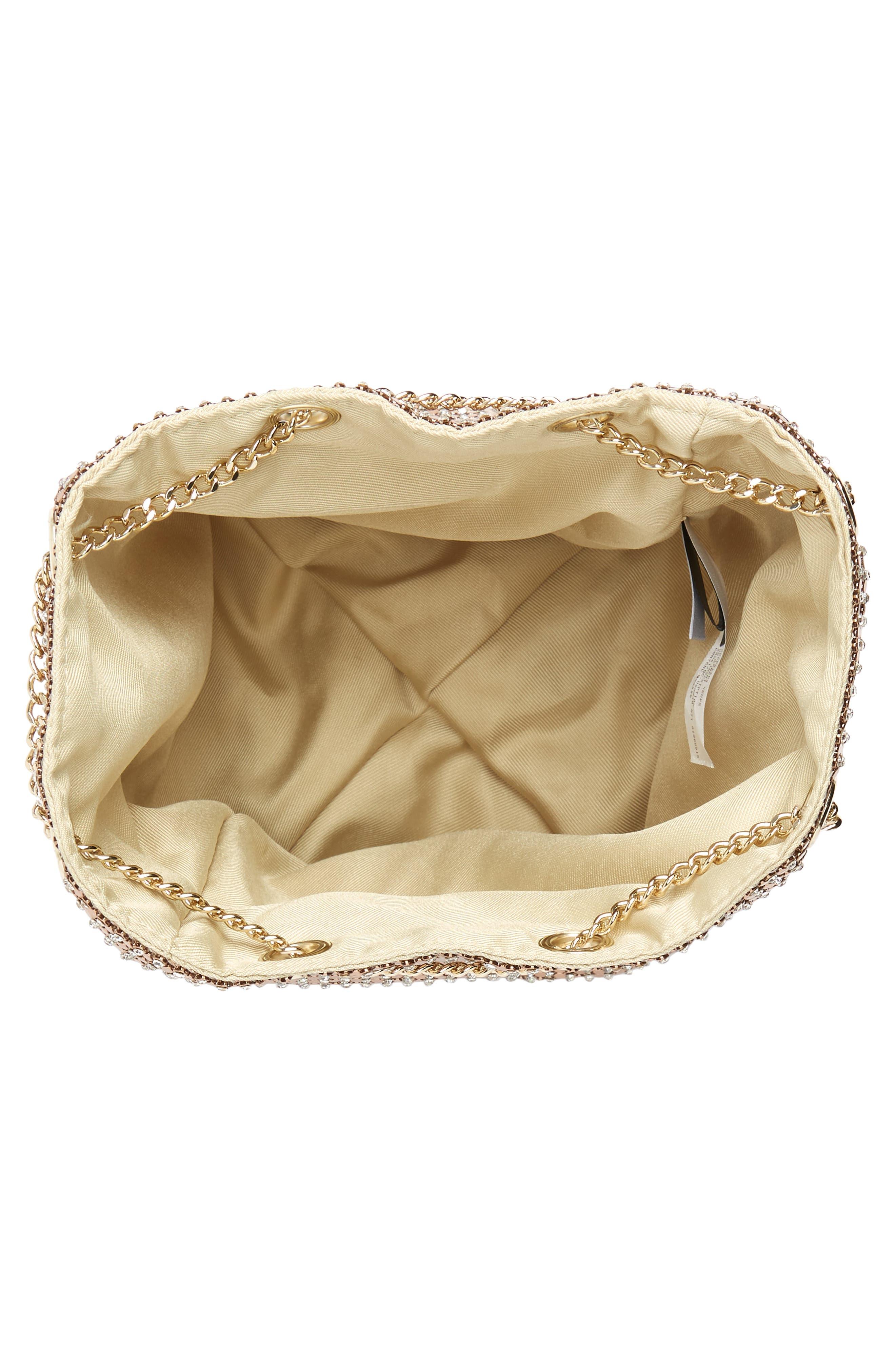 Crystal Mesh Crossbody Bucket Bag,                             Alternate thumbnail 4, color,                             ROSE GOLD