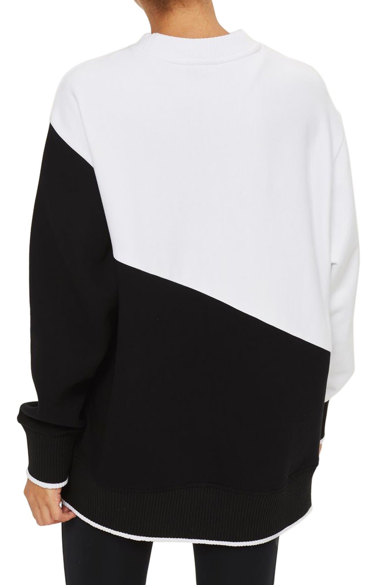 Asymmetrical Logo Sweatshirt,                             Alternate thumbnail 2, color,                             100