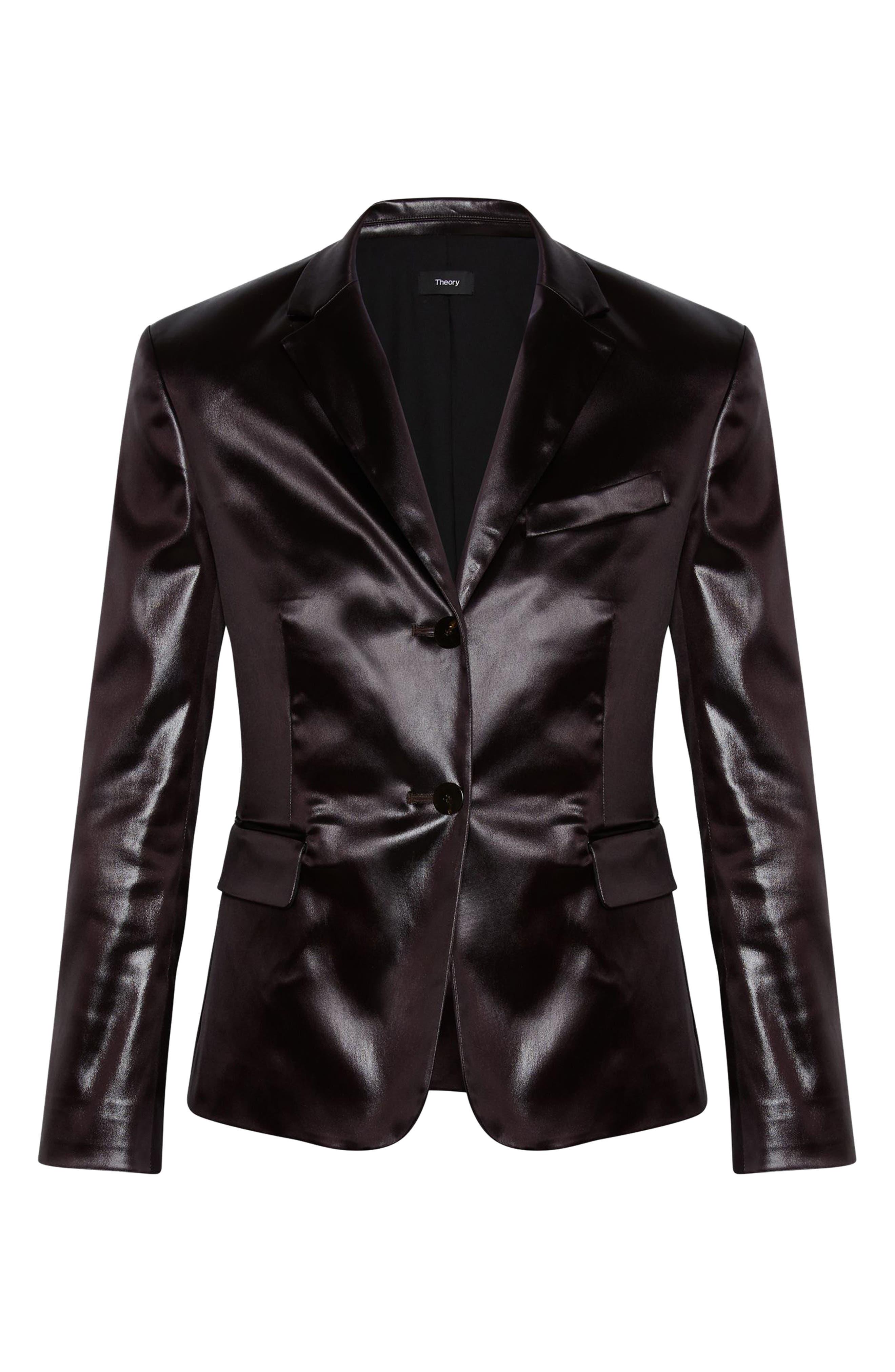 Faux Leather Shrunken Jacket,                             Alternate thumbnail 4, color,                             MINK BROWN