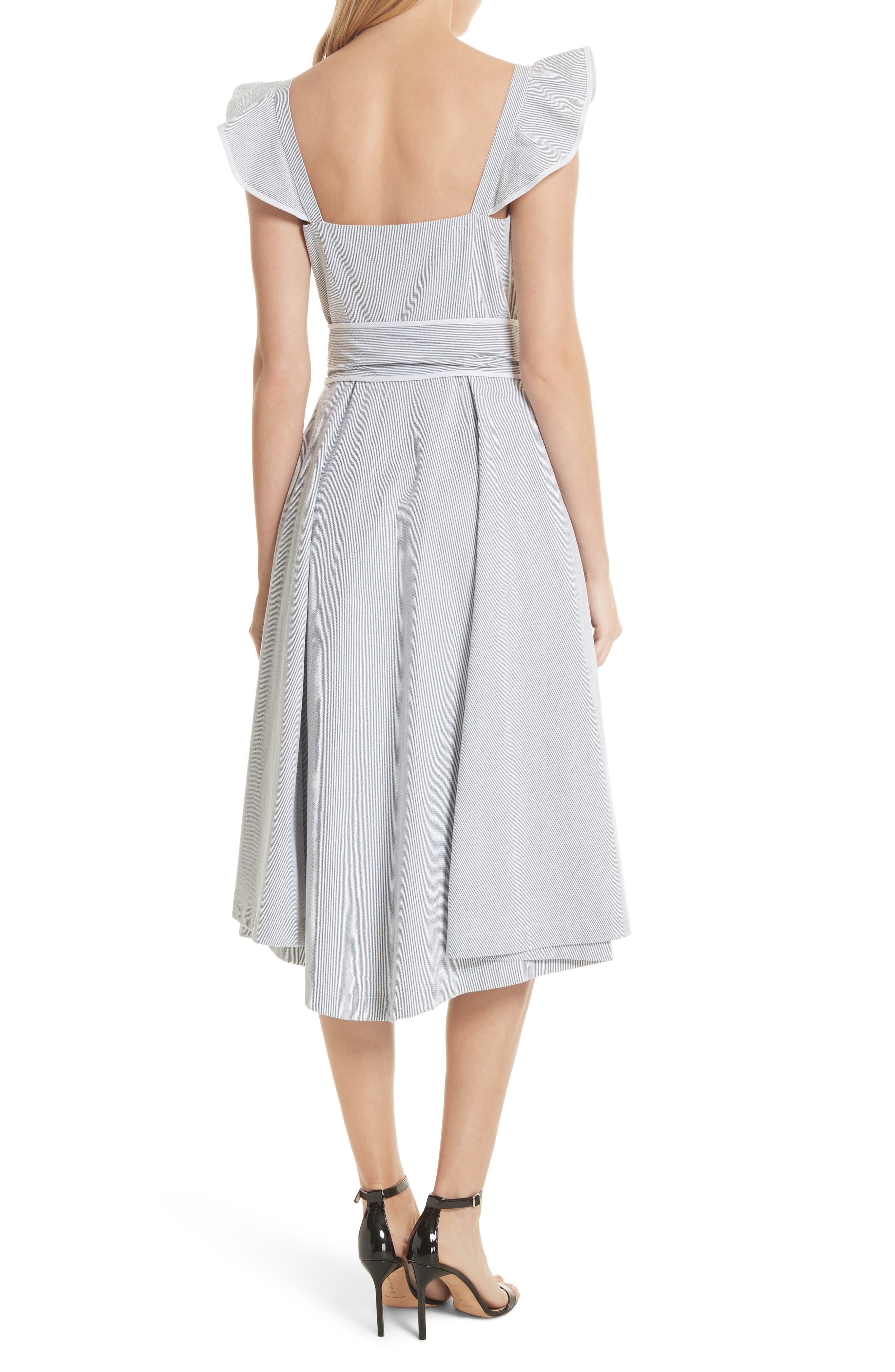 Ruffle Seersucker A-Line Dress,                             Alternate thumbnail 2, color,                             001