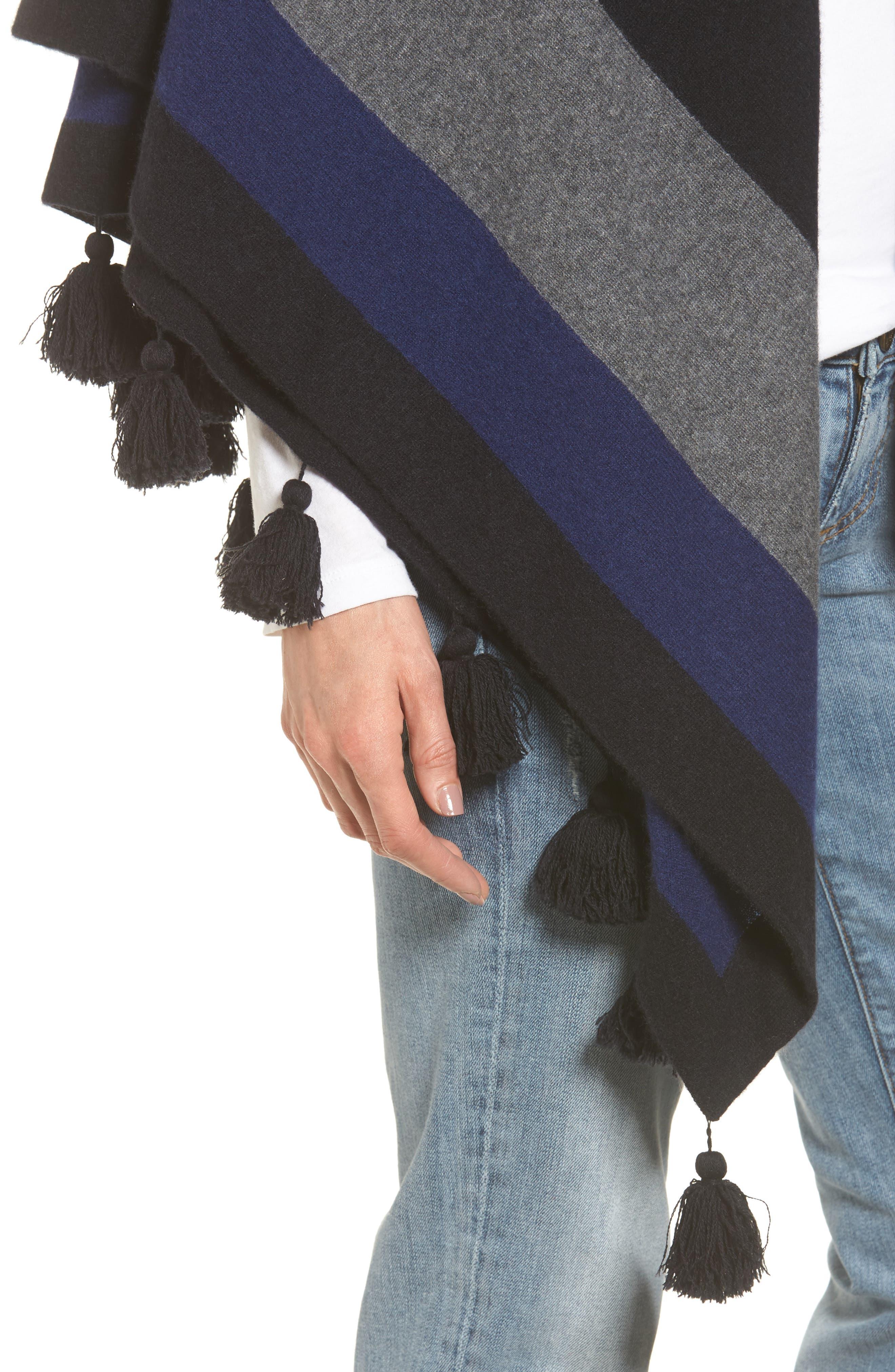 Tassel Trim Cashmere Wrap,                             Alternate thumbnail 4, color,                             001