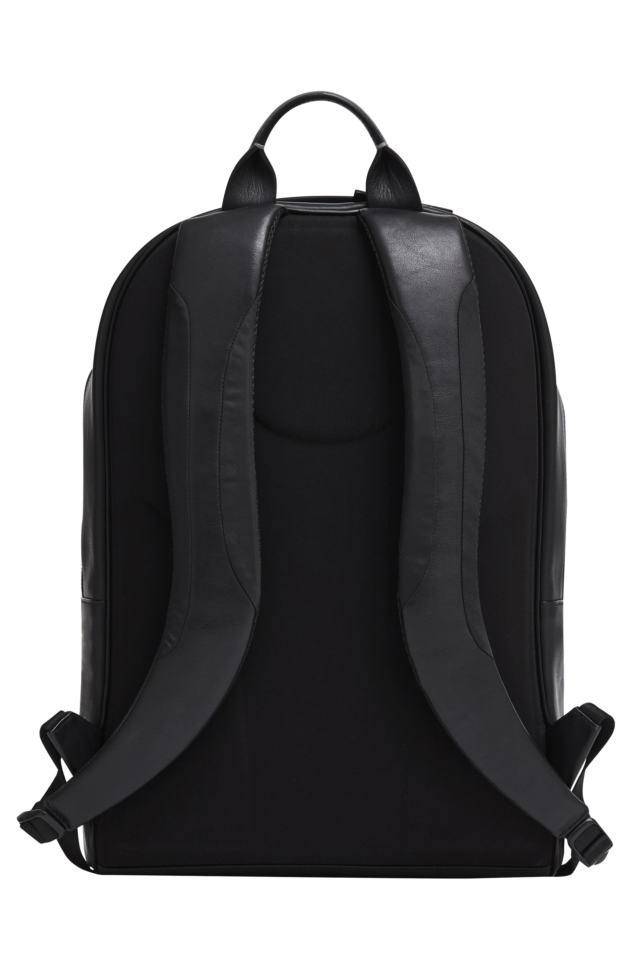 Leather Backpack,                             Alternate thumbnail 3, color,                             BLACK LEATHER