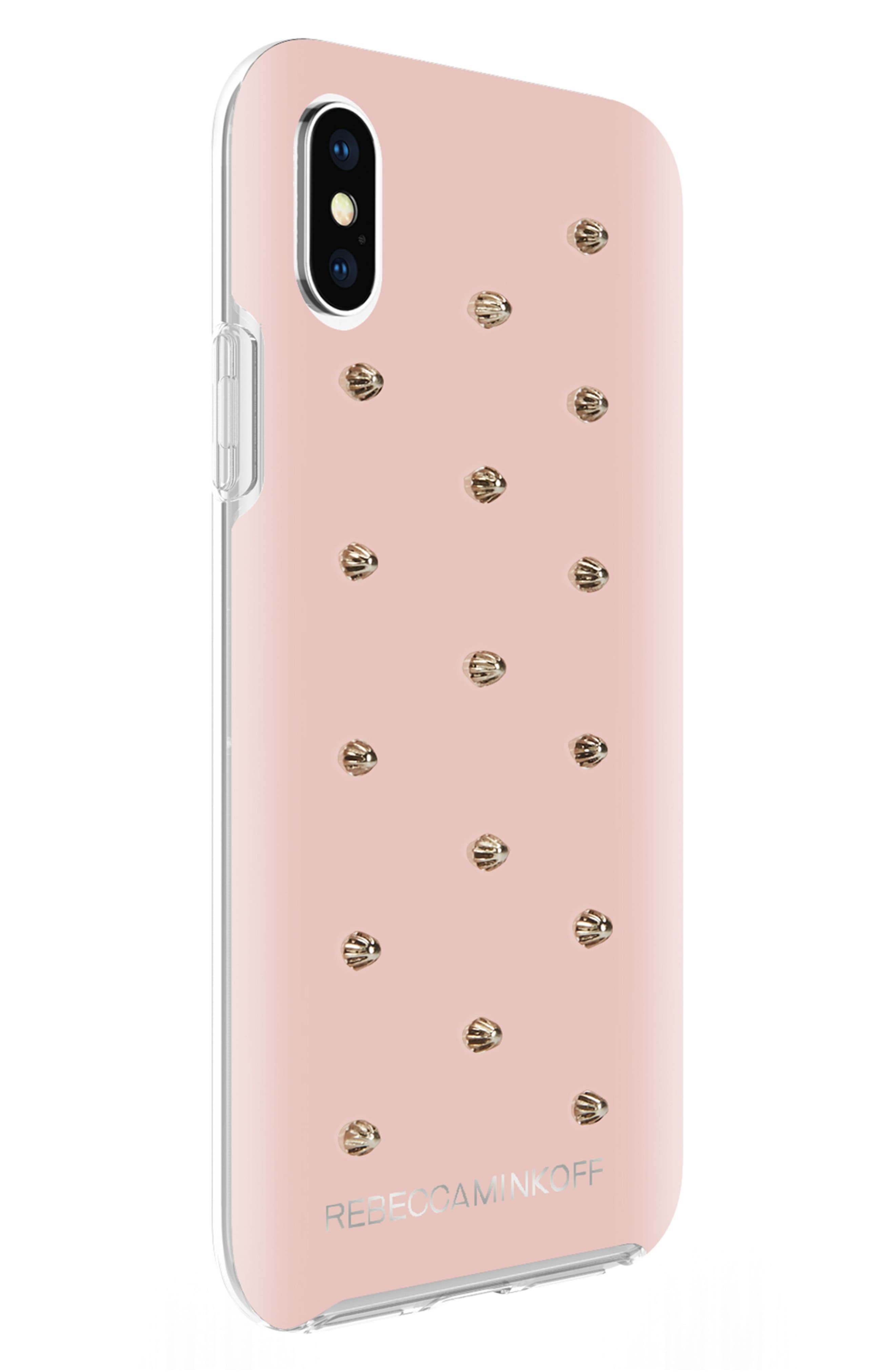Flower Stud iPhone X/Xs Case,                             Alternate thumbnail 5, color,                             ROSE GOLD/ GOLD STUDS