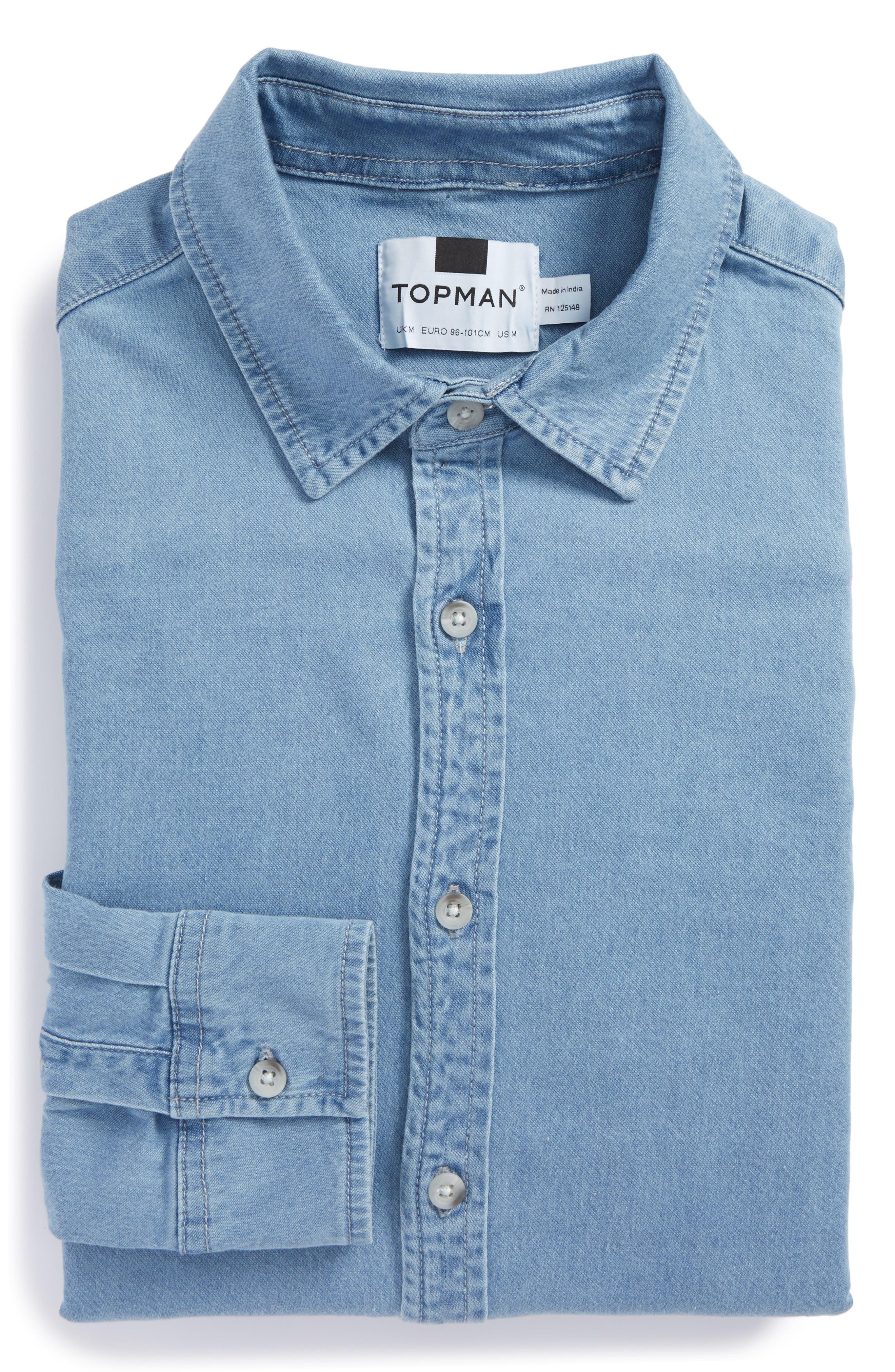 Muscle Fit Bleach Denim Shirt,                         Main,                         color, BLUE