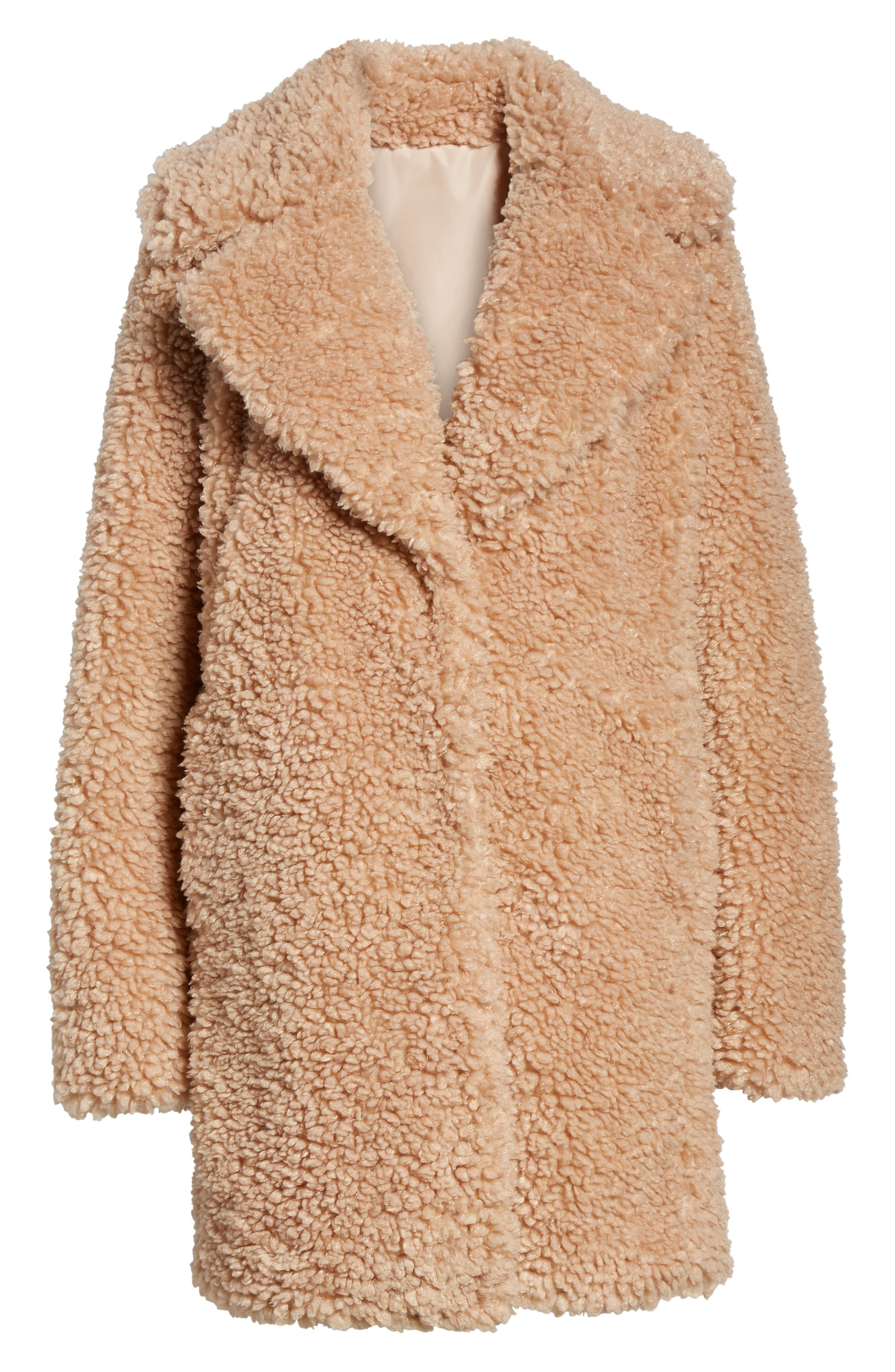 Faux Shearling Coat, Alternate, color, NUDE