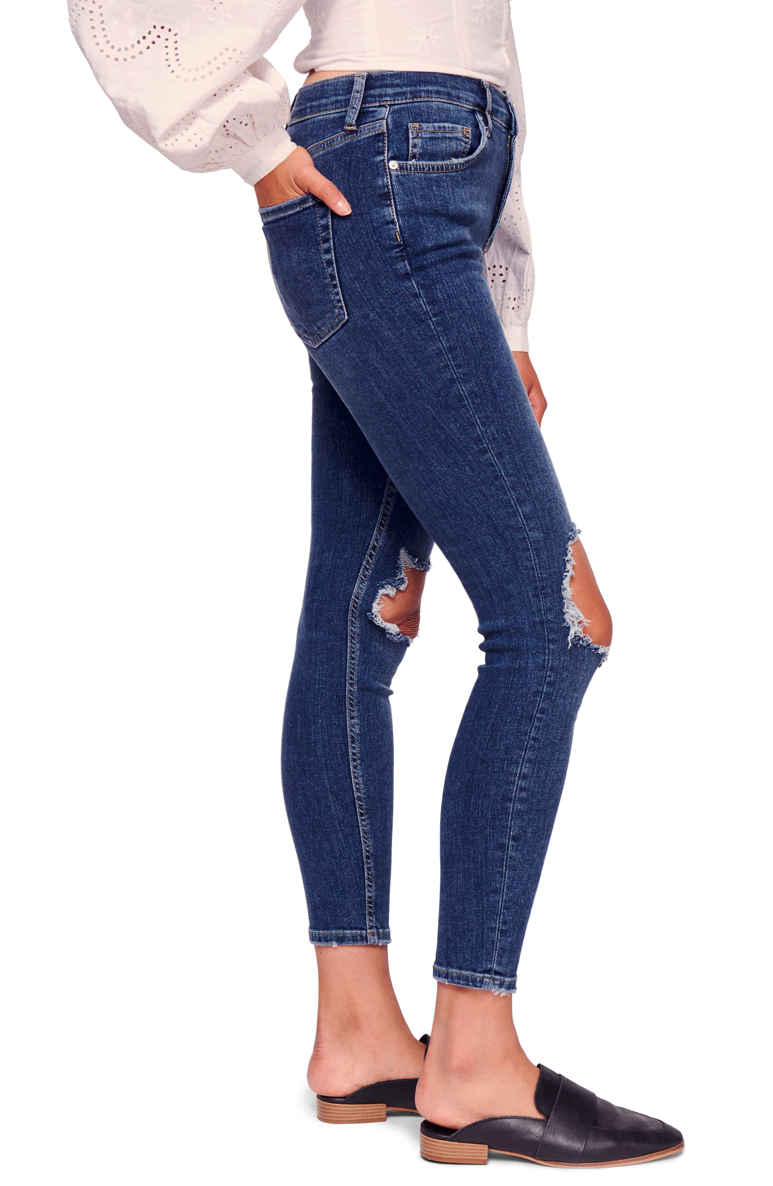 We the Free by Free People Ripped High Waist Ankle Skinny Jeans,                             Alternate thumbnail 3, color,                             400