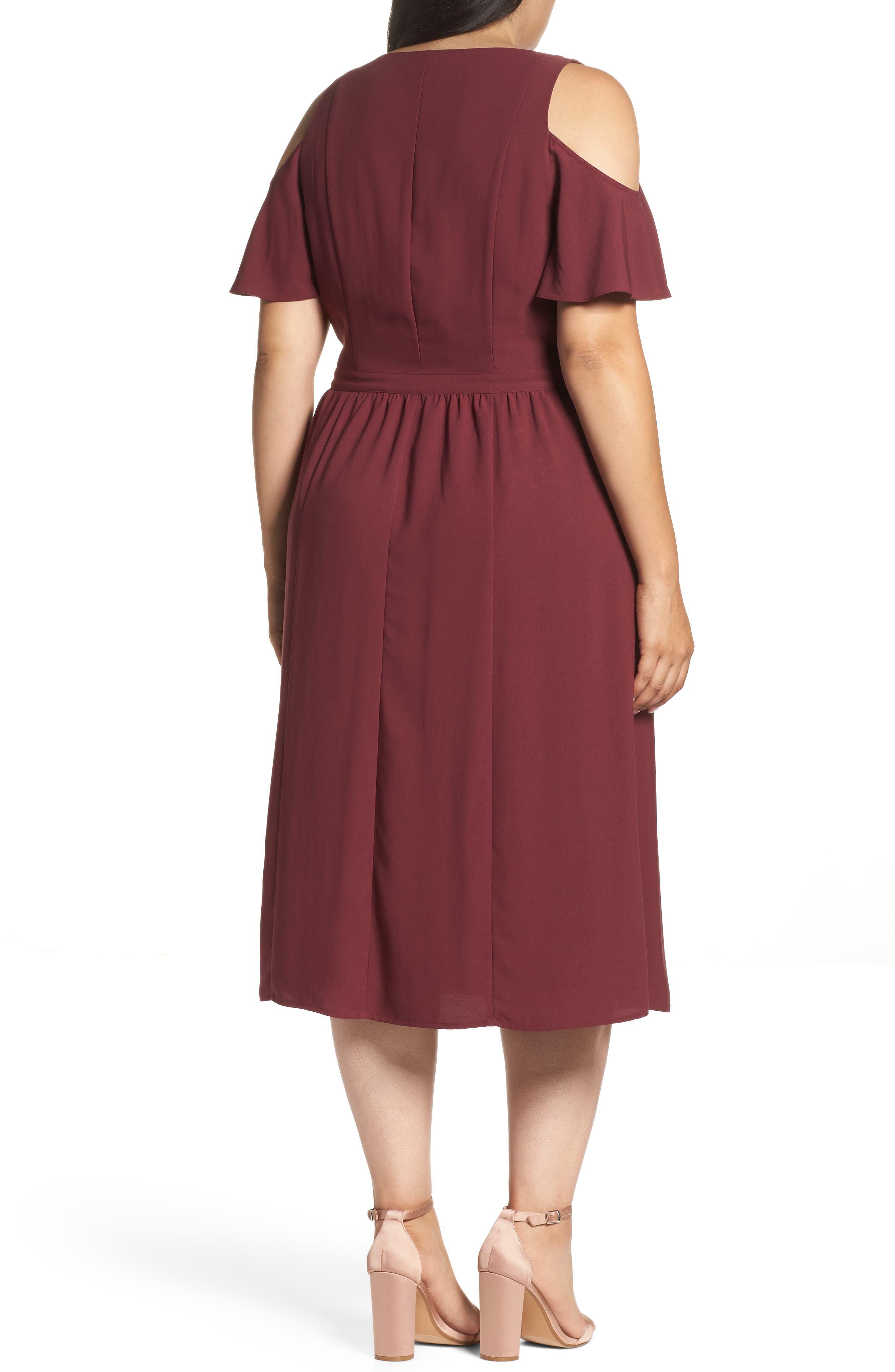 Cold Shoulder Midi Dress,                             Alternate thumbnail 2, color,                             930