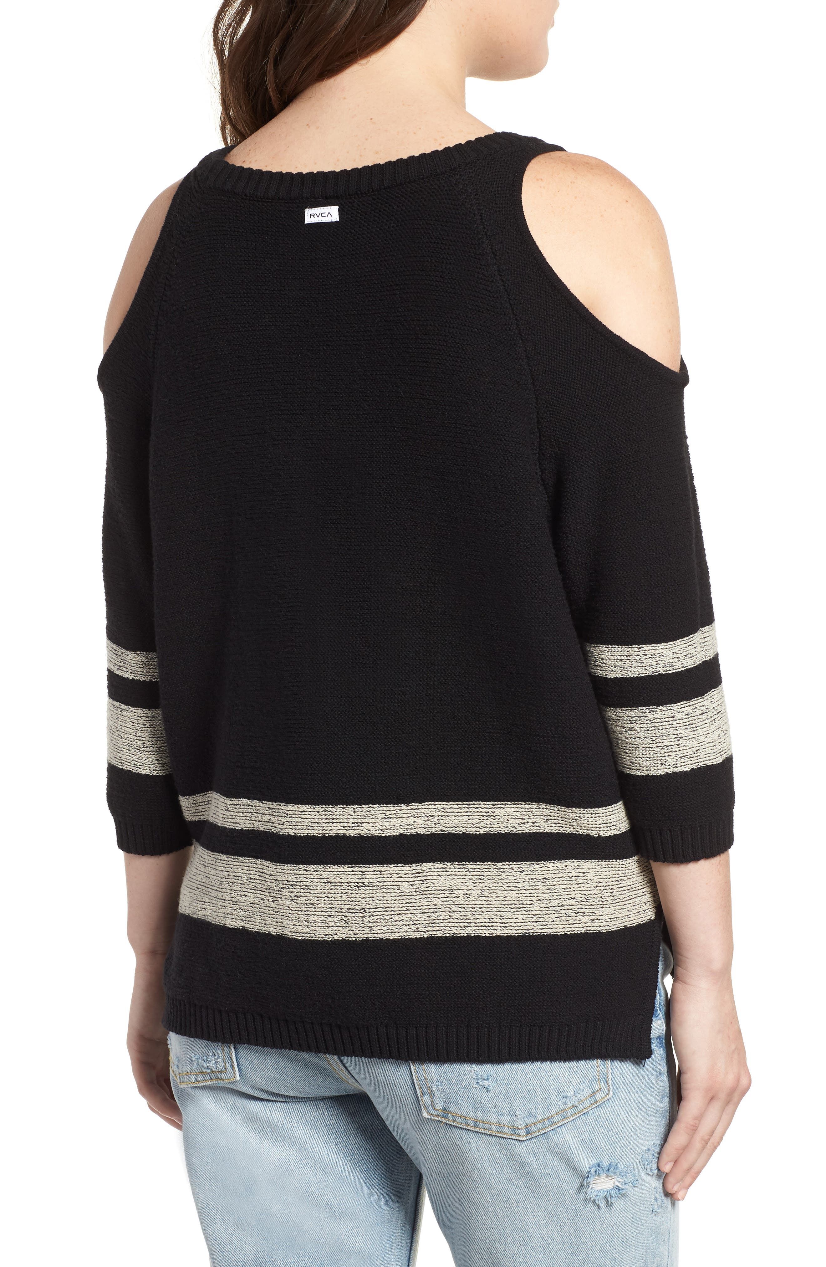 Marked Cold Shoulder Sweater,                             Alternate thumbnail 2, color,                             BLACK