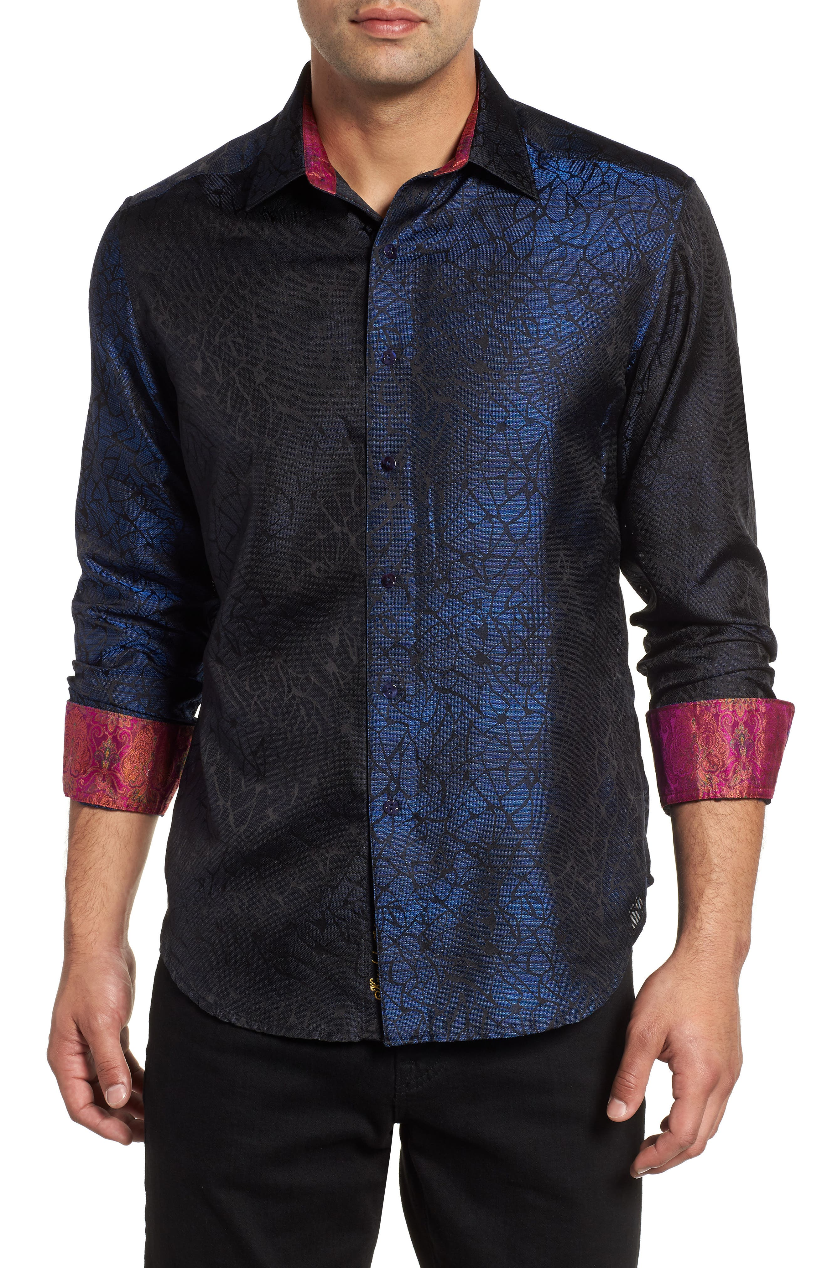 Seibelesk Limited Edition Classic Fit Silk Sport Shirt,                             Main thumbnail 1, color,                             NAVY