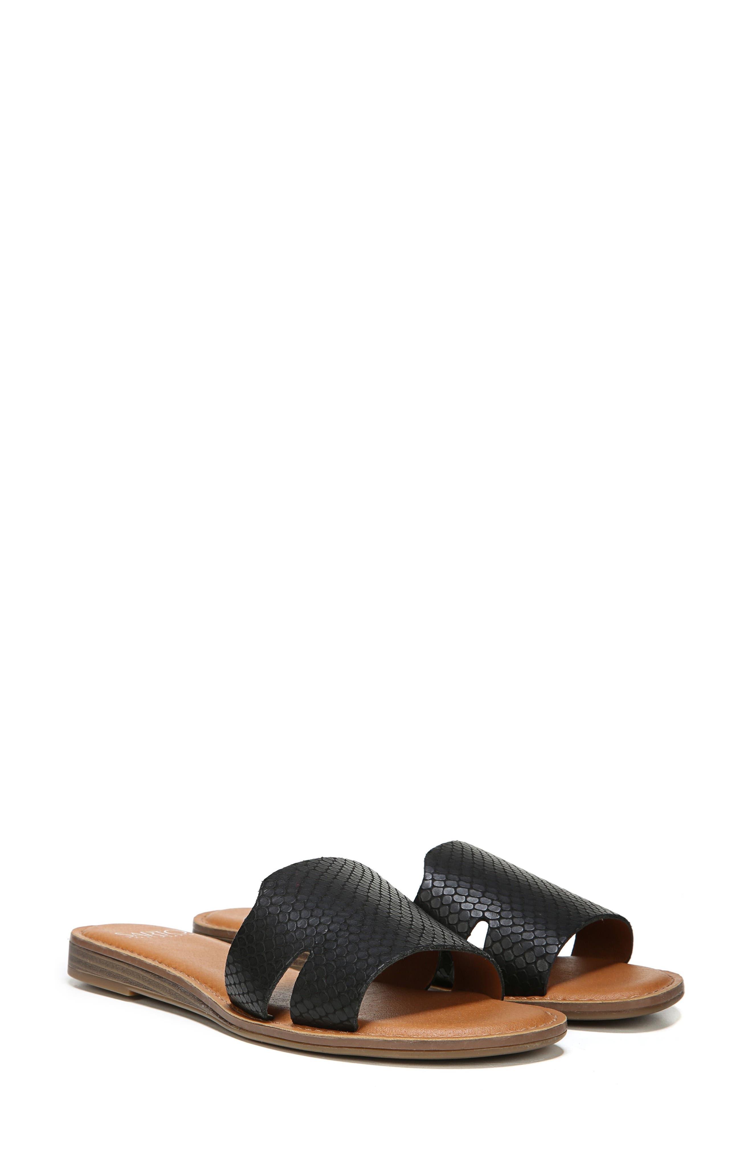 Ginelle Slide Sandal,                             Alternate thumbnail 8, color,                             BLACK PRINTED LEATHER