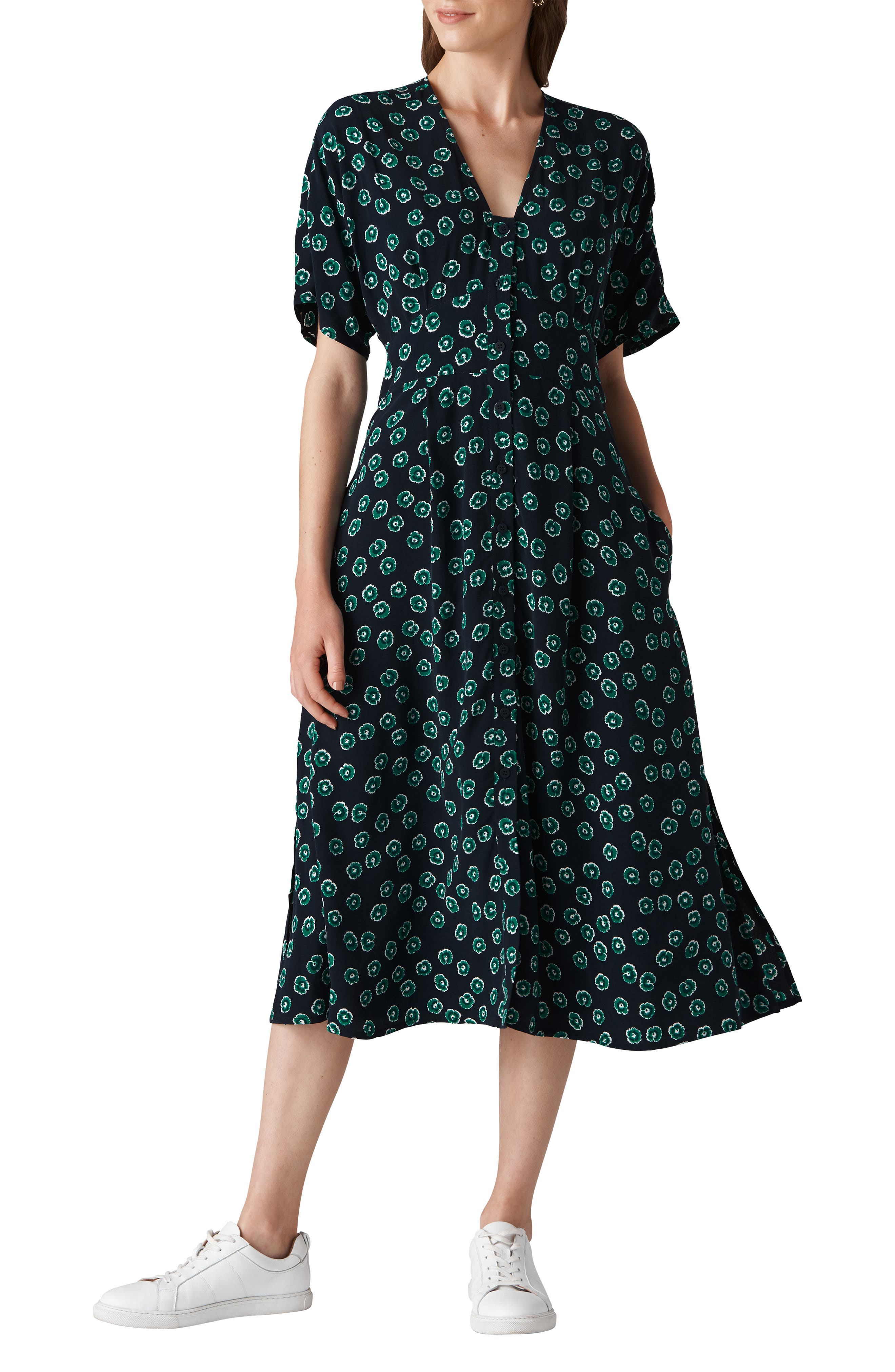 Lenno Nayna Shirtdress,                             Main thumbnail 1, color,                             GREEN MULTI