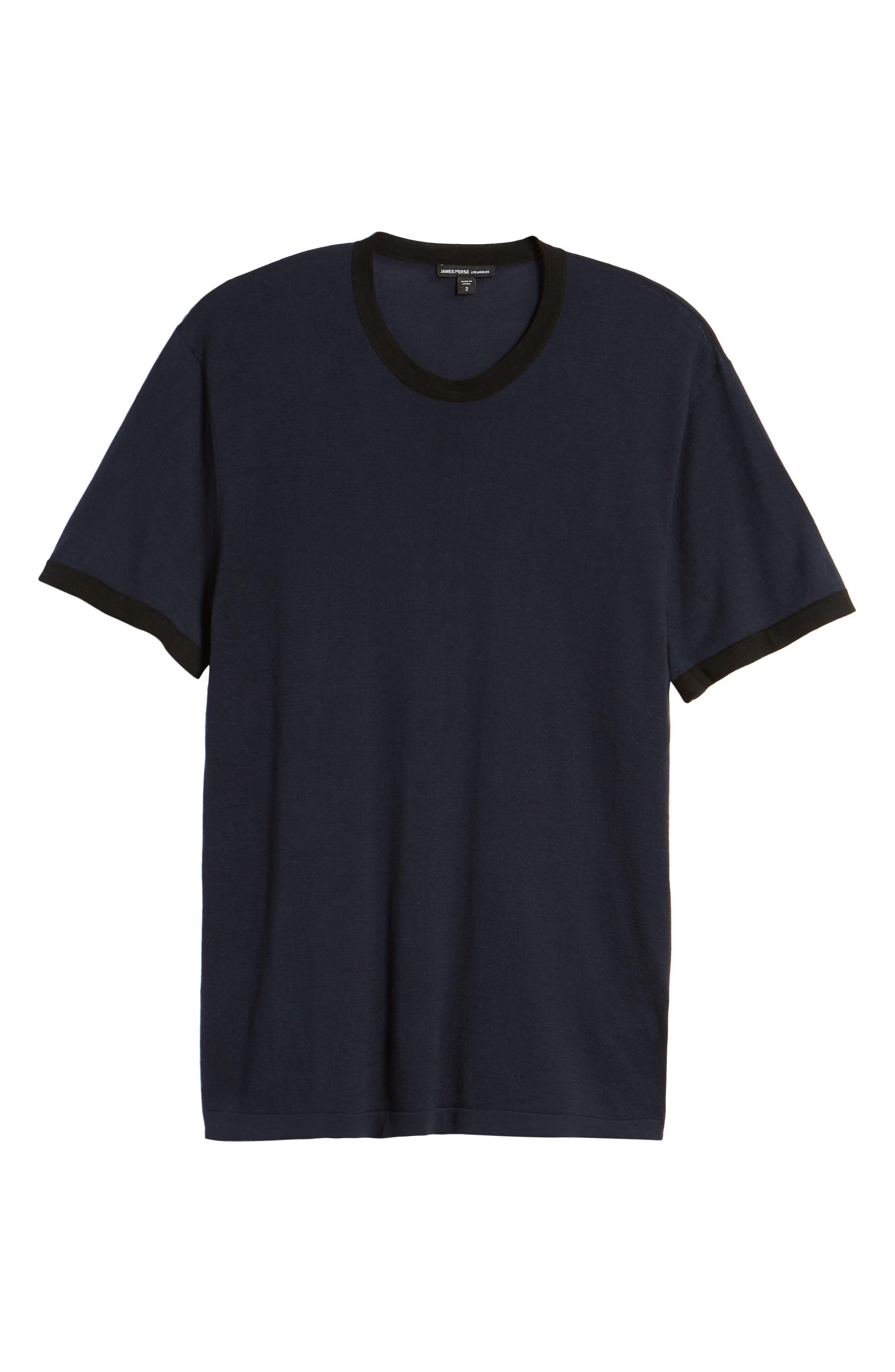 Regular Fit Ringer T-Shirt,                             Alternate thumbnail 6, color,                             FRENCH NAVY/ BLACK