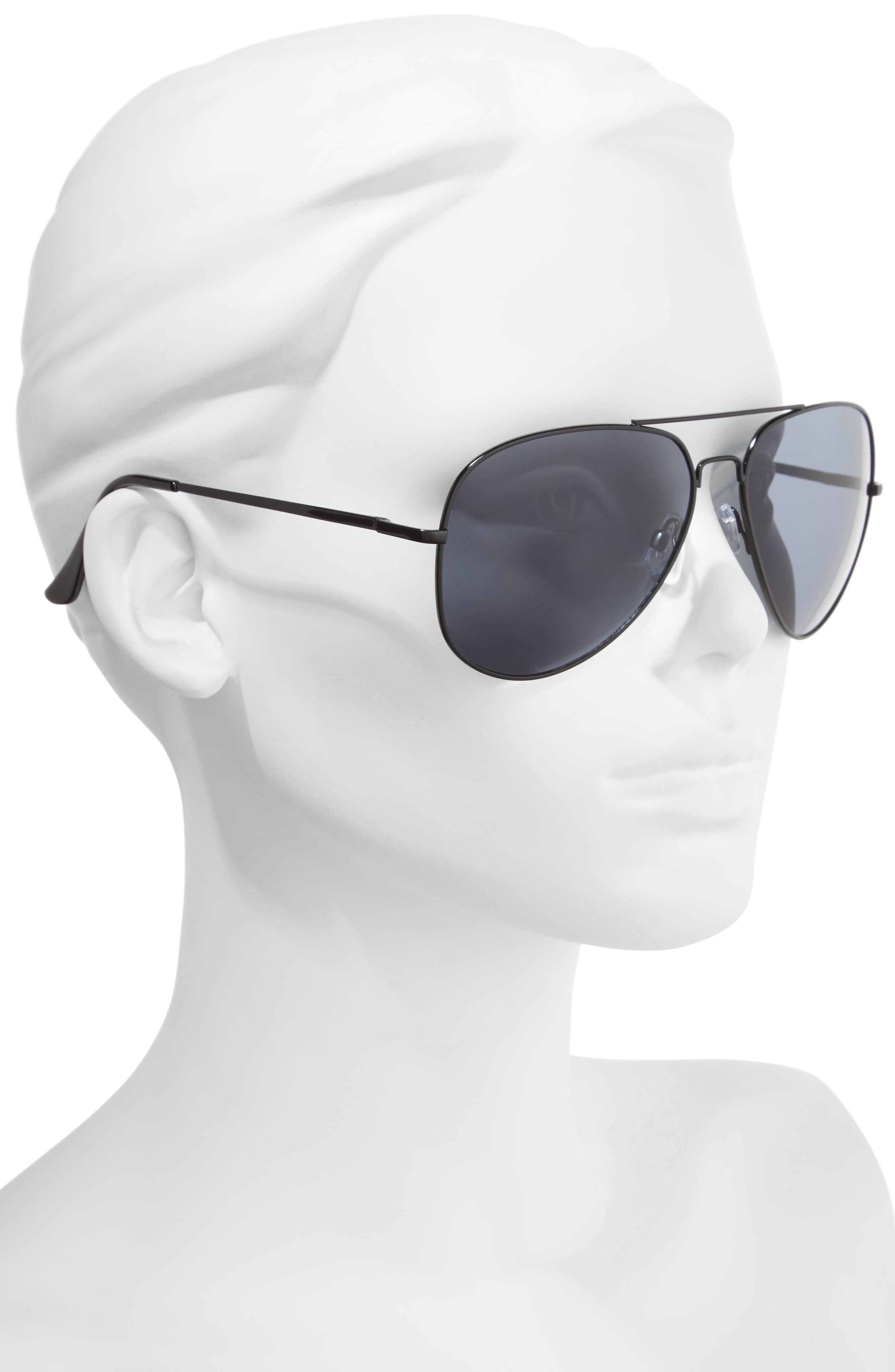 60mm Large Aviator Sunglasses,                             Alternate thumbnail 2, color,                             001